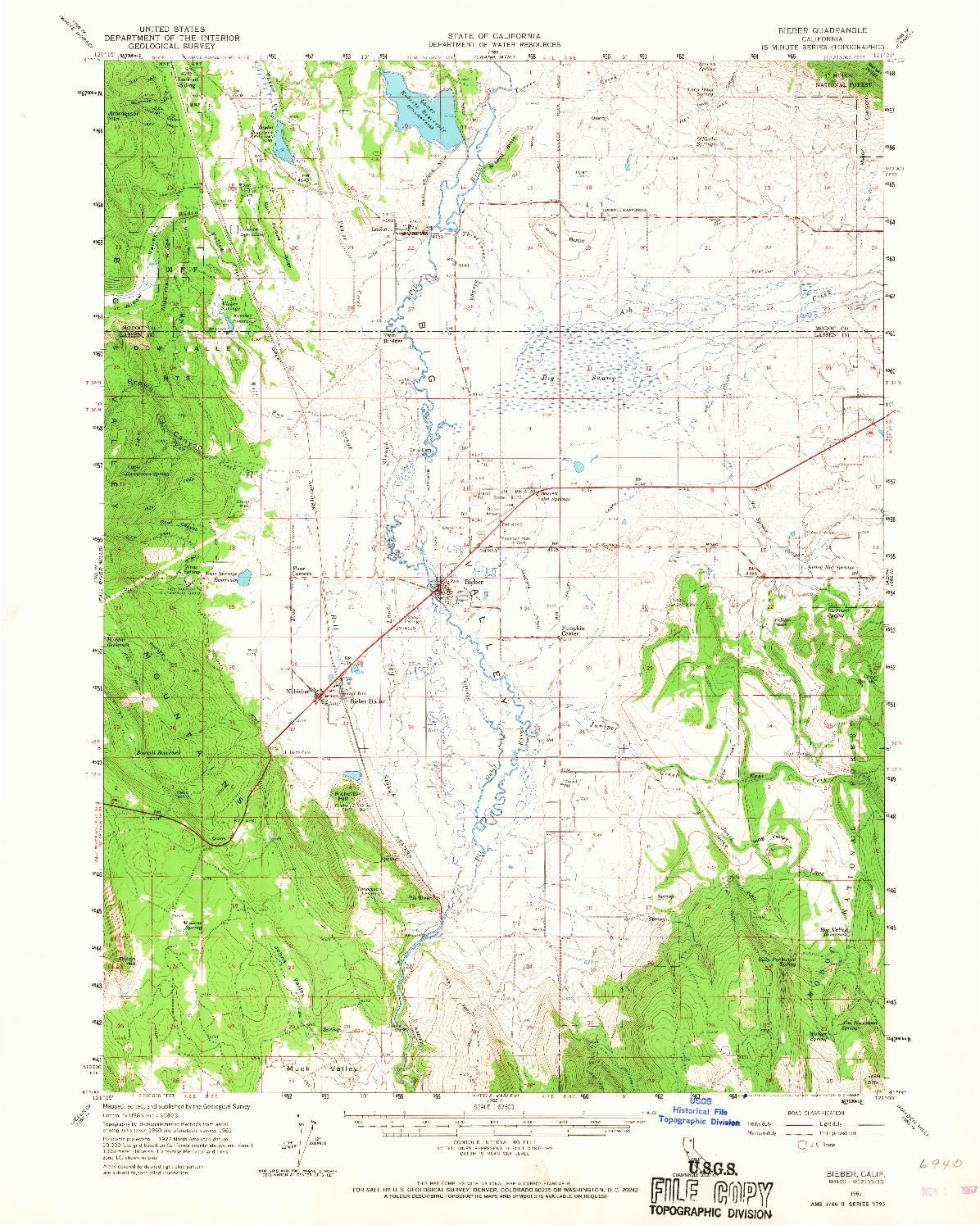 USGS 1:62500-SCALE QUADRANGLE FOR BIEBER, CA 1961