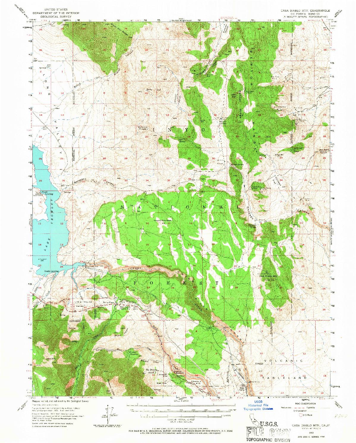 USGS 1:62500-SCALE QUADRANGLE FOR CASA DIABLO MTN, CA 1953