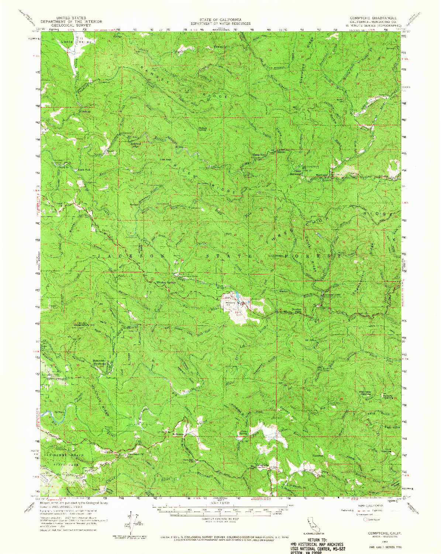 USGS 1:62500-SCALE QUADRANGLE FOR COMPTCHE, CA 1960