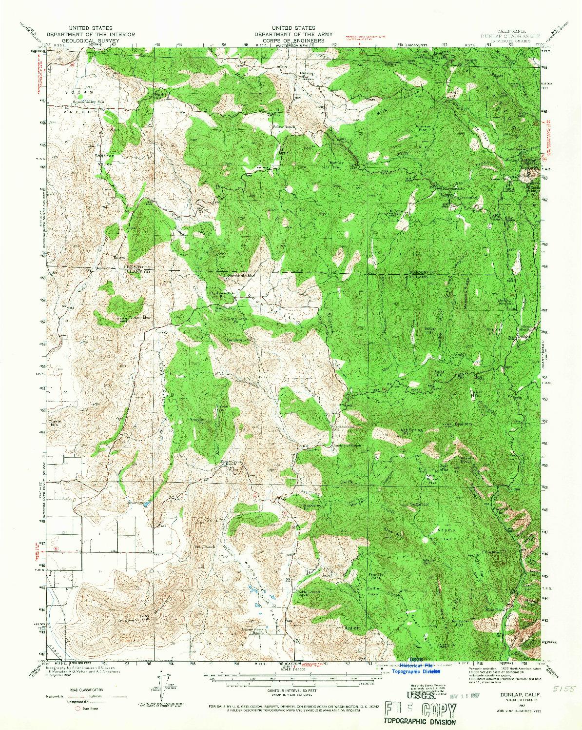 USGS 1:62500-SCALE QUADRANGLE FOR DUNLAP, CA 1942