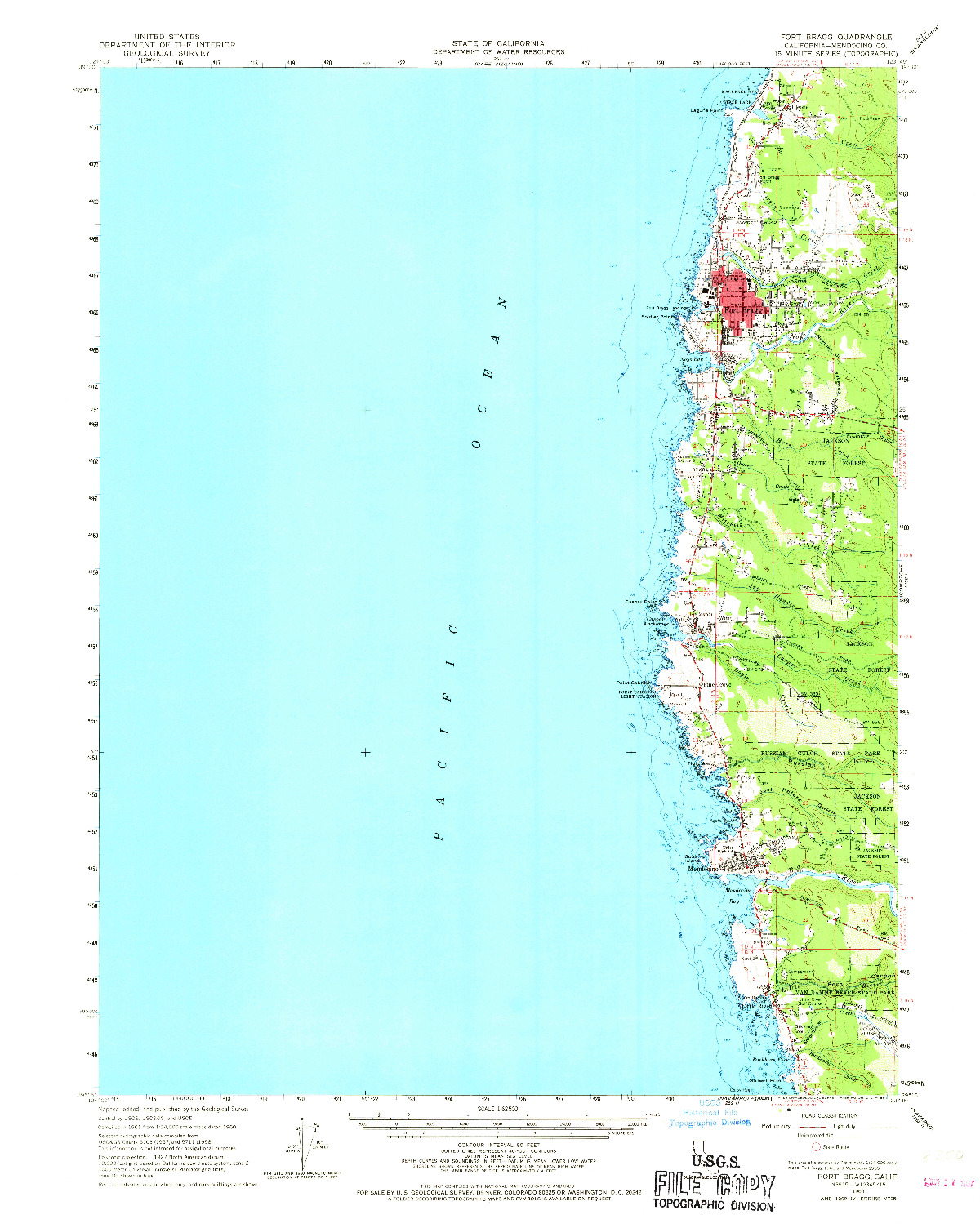 USGS 1:62500-SCALE QUADRANGLE FOR FORT BRAGG, CA 1960