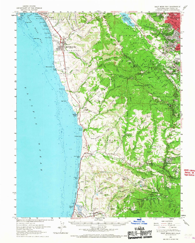 USGS 1:62500-SCALE QUADRANGLE FOR HALF MOON BAY, CA 1961