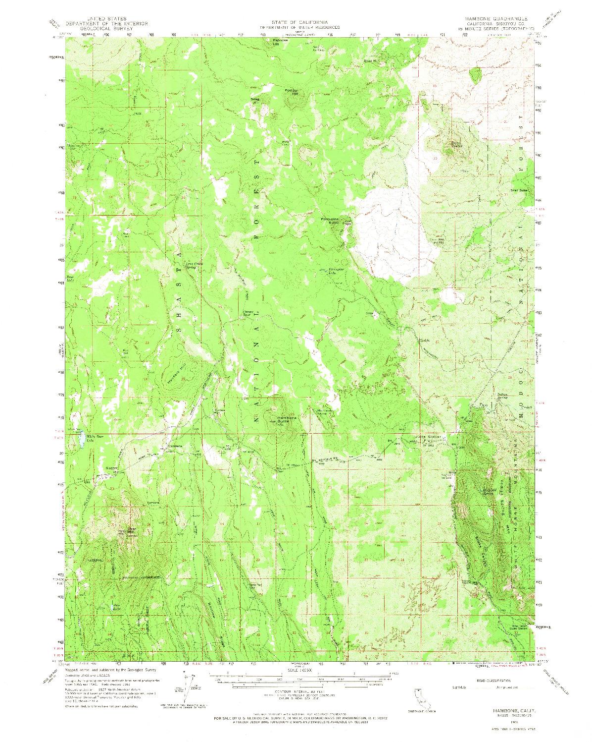 USGS 1:62500-SCALE QUADRANGLE FOR HAMBONE, CA 1961