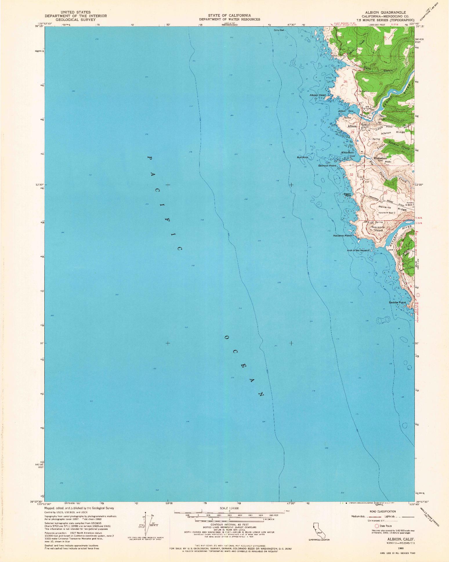USGS 1:24000-SCALE QUADRANGLE FOR ALBION, CA 1960