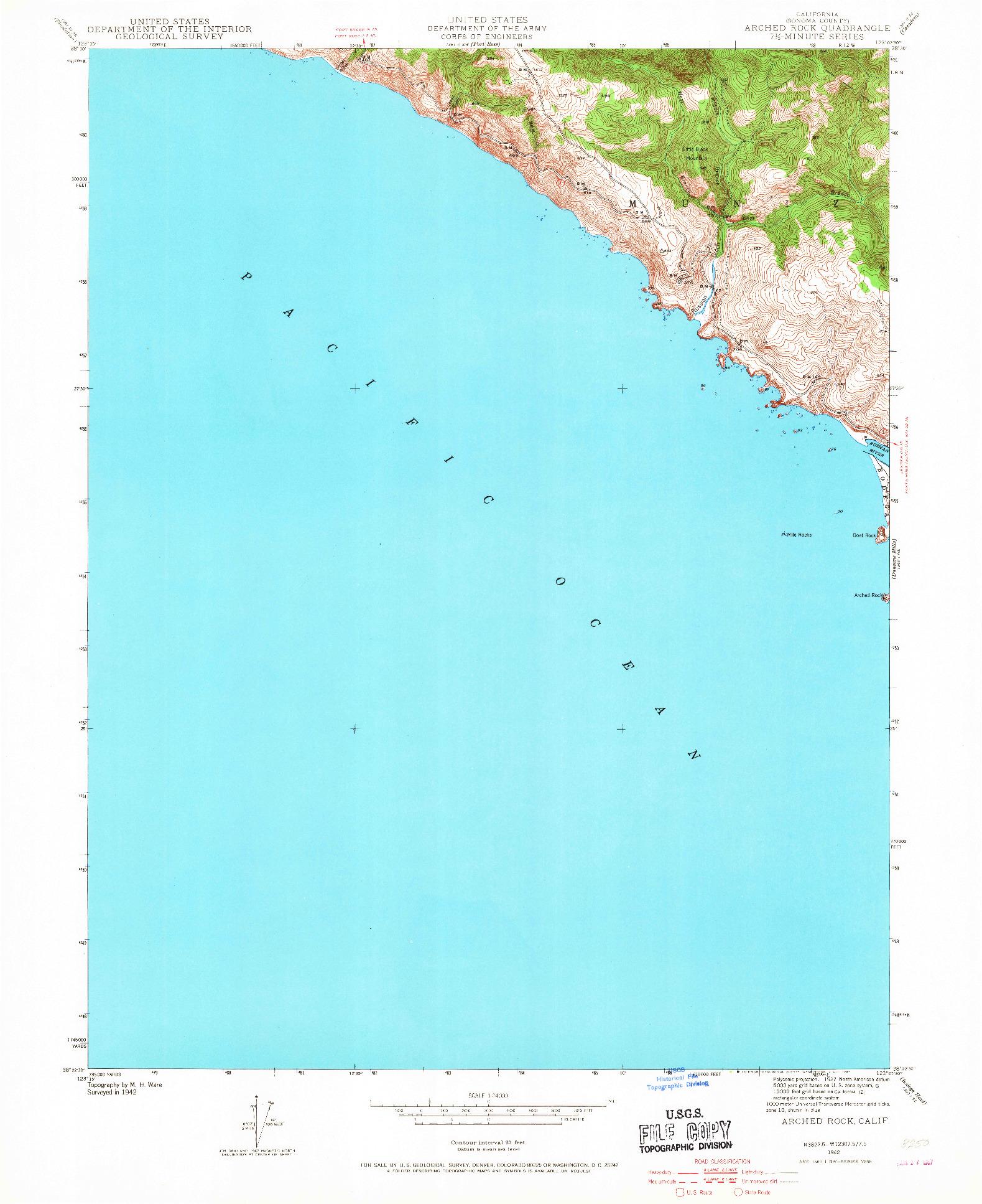 USGS 1:24000-SCALE QUADRANGLE FOR ARCHED ROCK, CA 1942