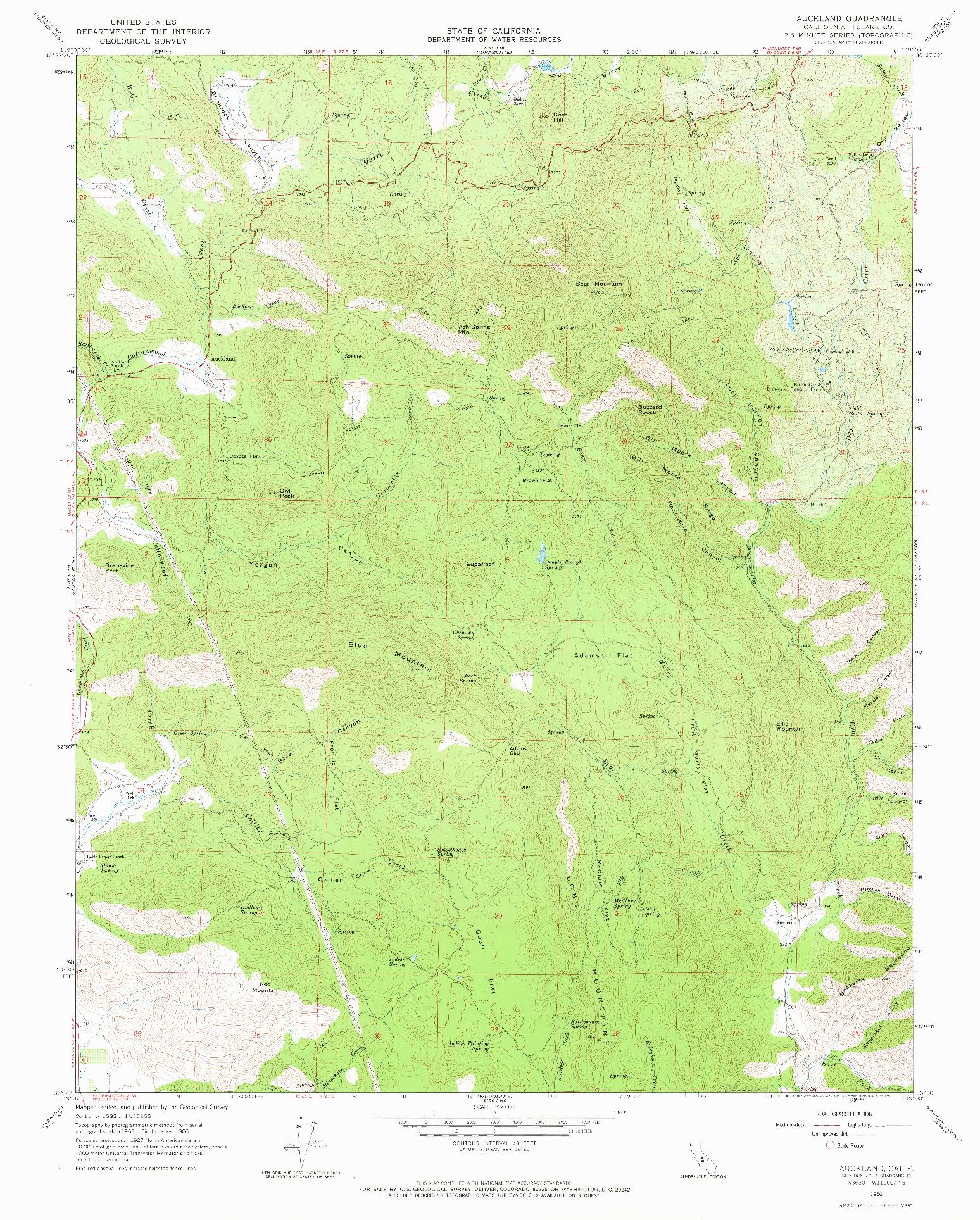 USGS 1:24000-SCALE QUADRANGLE FOR AUCKLAND, CA 1966