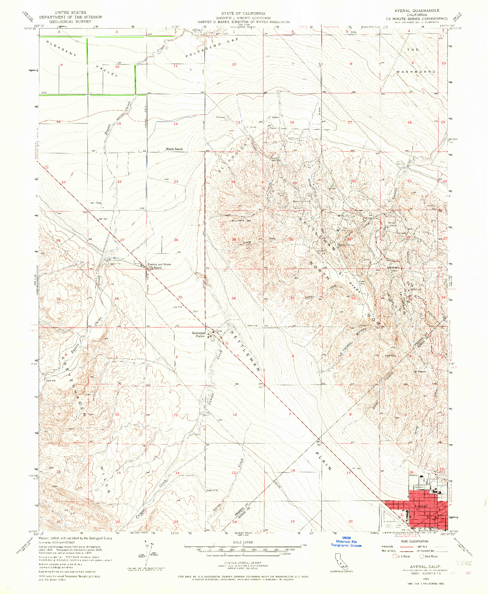 USGS 1:24000-SCALE QUADRANGLE FOR AVENAL, CA 1954