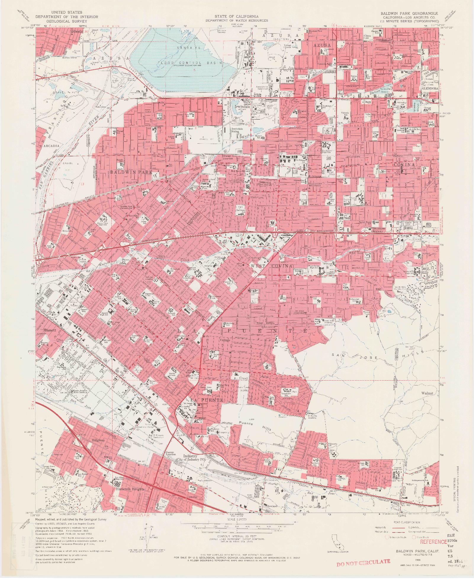 USGS 1:24000-SCALE QUADRANGLE FOR BALDWIN PARK, CA 1966