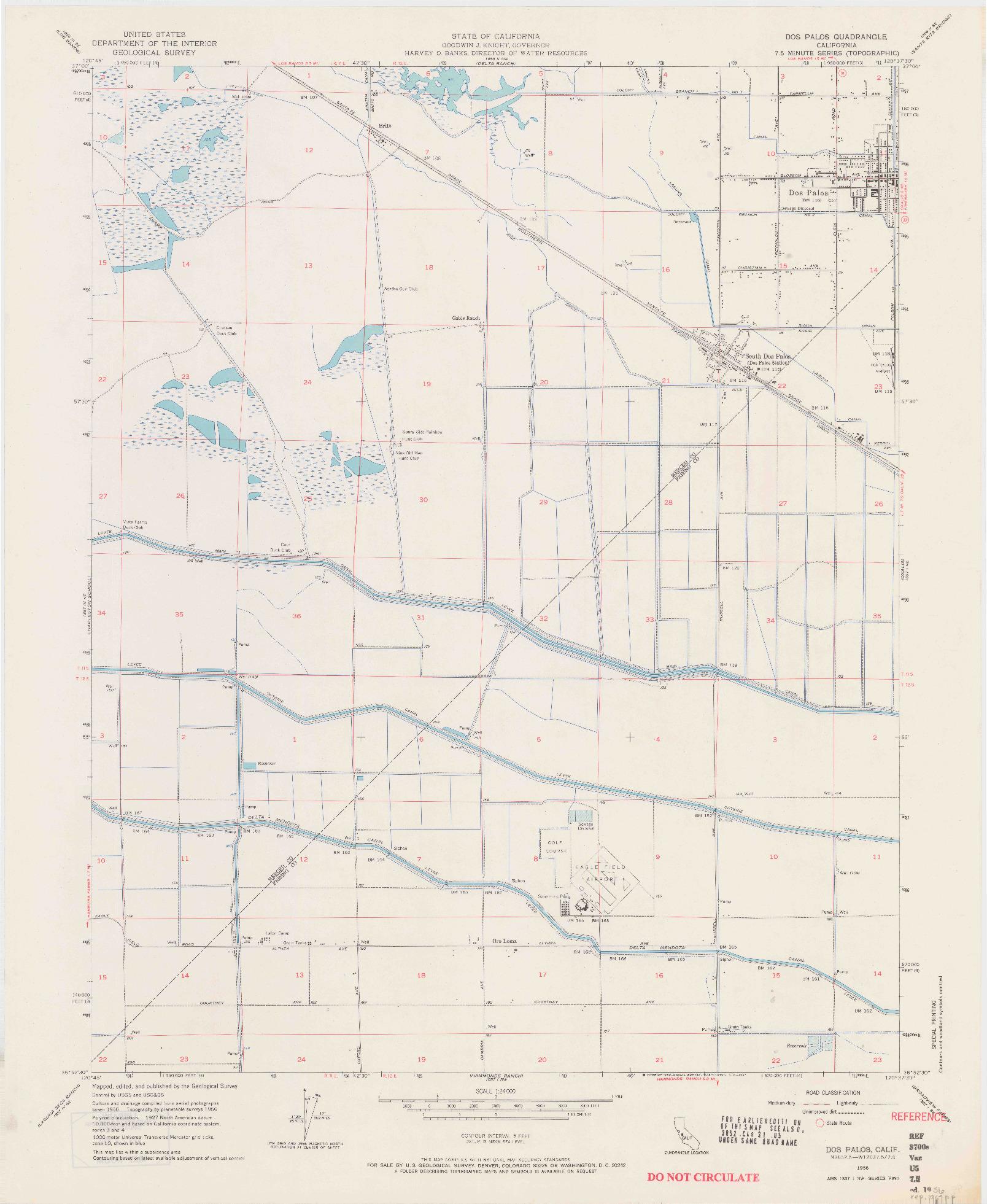 USGS 1:24000-SCALE QUADRANGLE FOR DOS PALOS, CA 1956