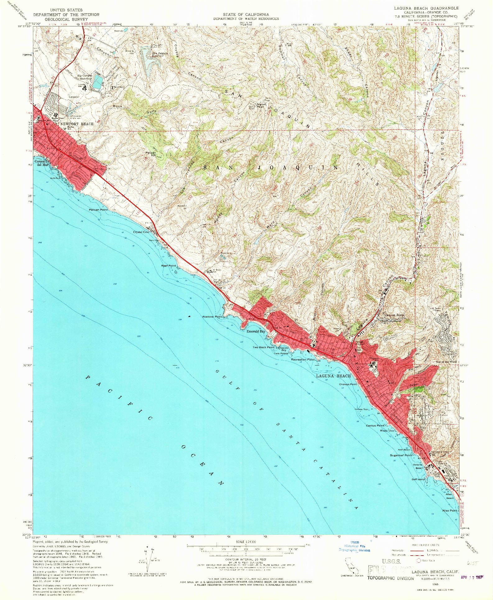 USGS 1:24000-SCALE QUADRANGLE FOR LAGUNA BEACH, CA 1965
