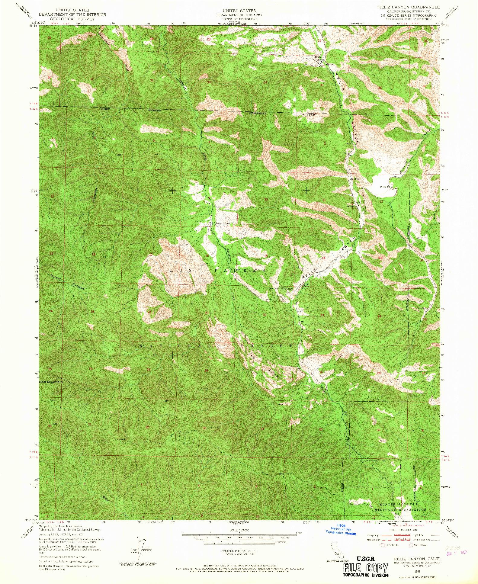 USGS 1:24000-SCALE QUADRANGLE FOR RELIZ CANYON, CA 1949
