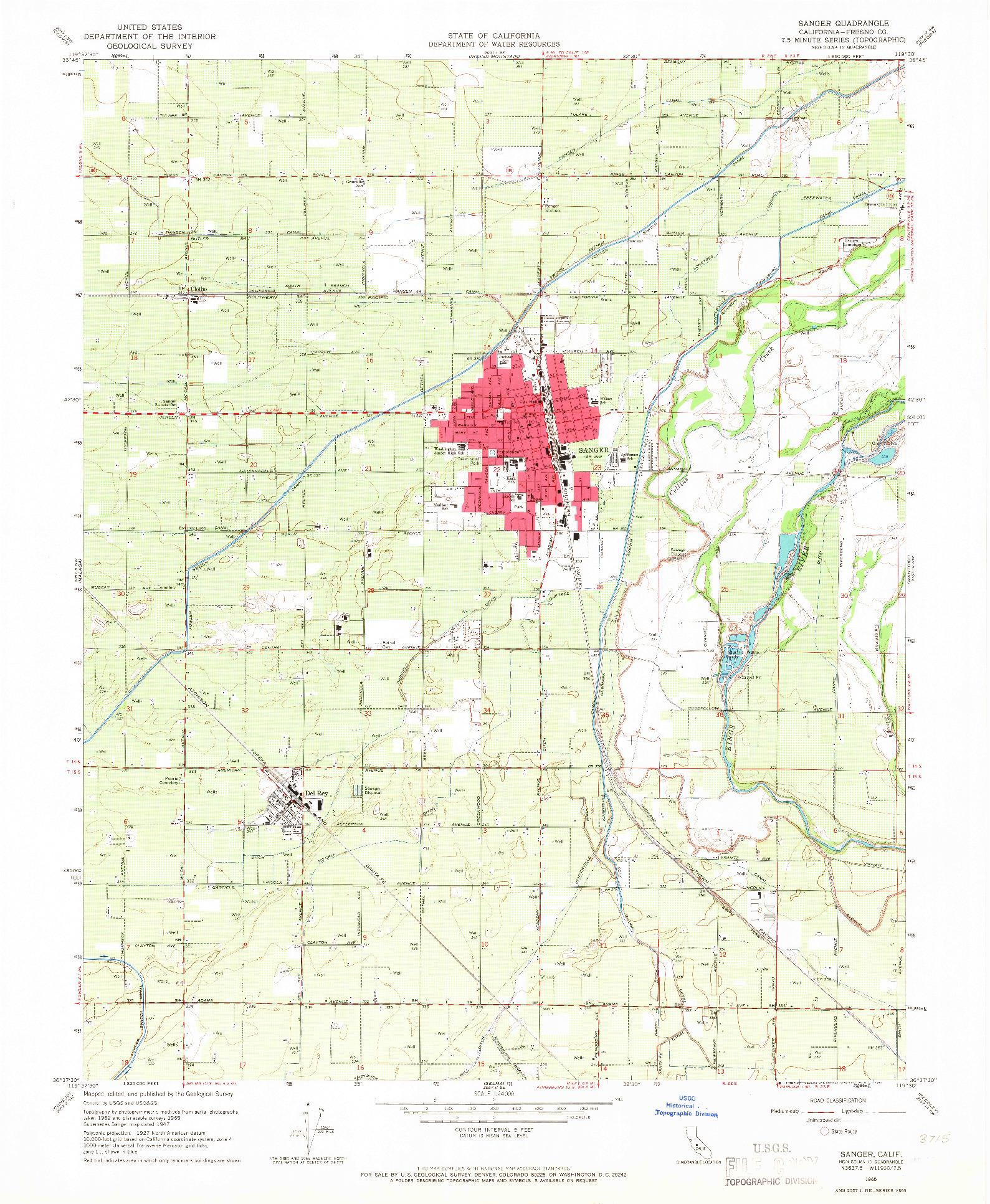 USGS 1:24000-SCALE QUADRANGLE FOR SANGER, CA 1965
