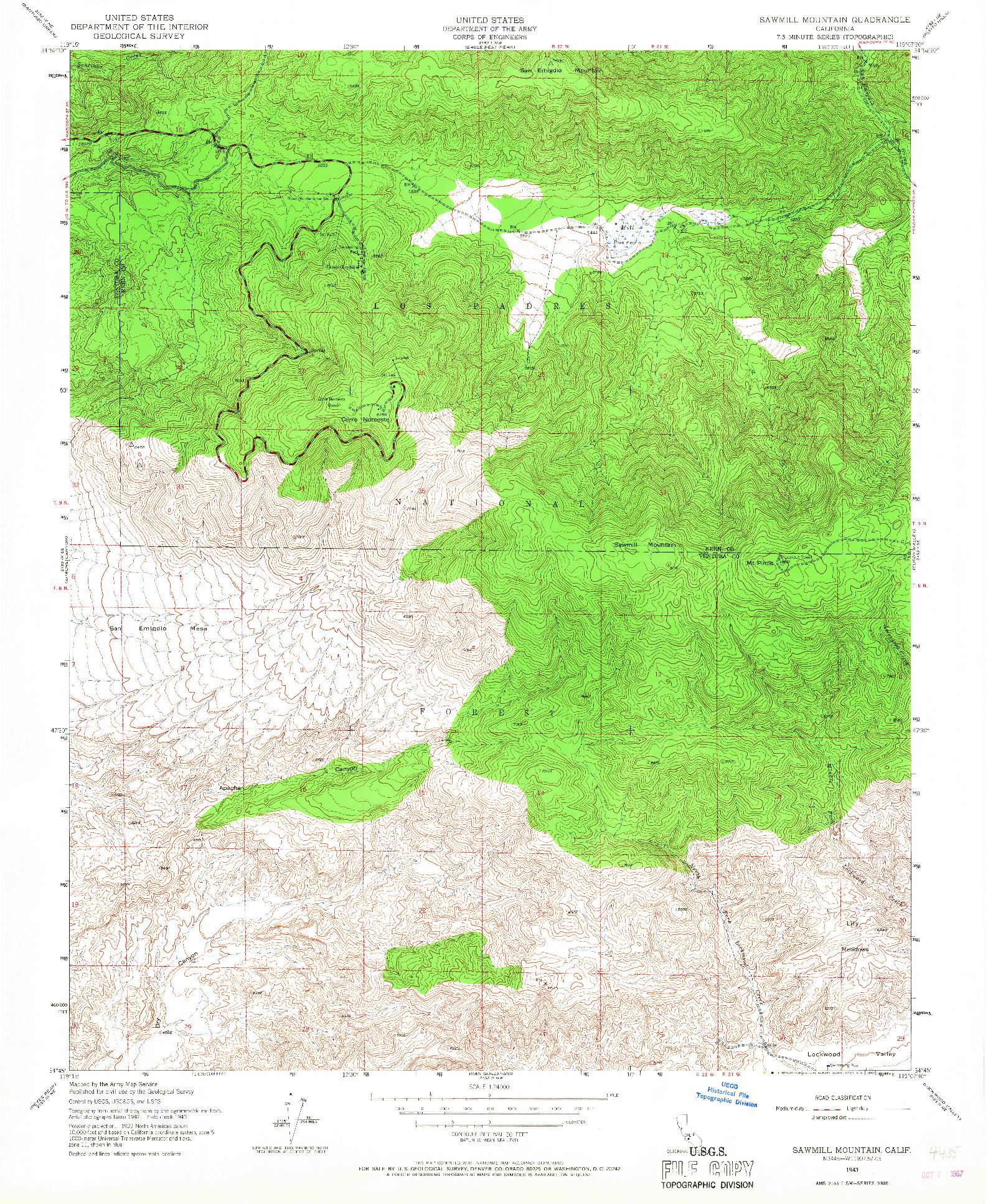 USGS 1:24000-SCALE QUADRANGLE FOR SAWMILL MOUNTAIN, CA 1943