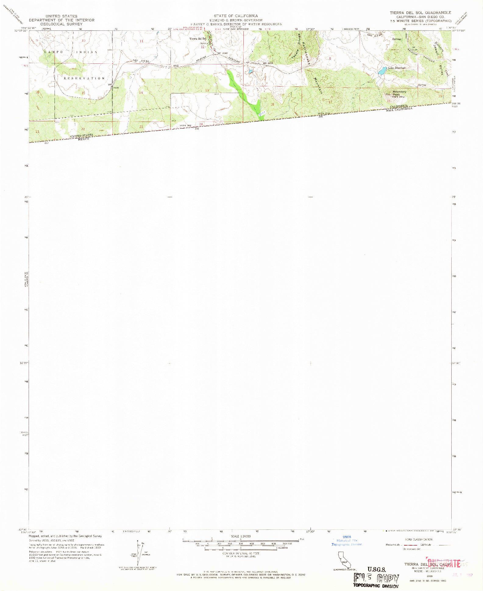 USGS 1:24000-SCALE QUADRANGLE FOR TIERRA DEL SOL, CA 1959