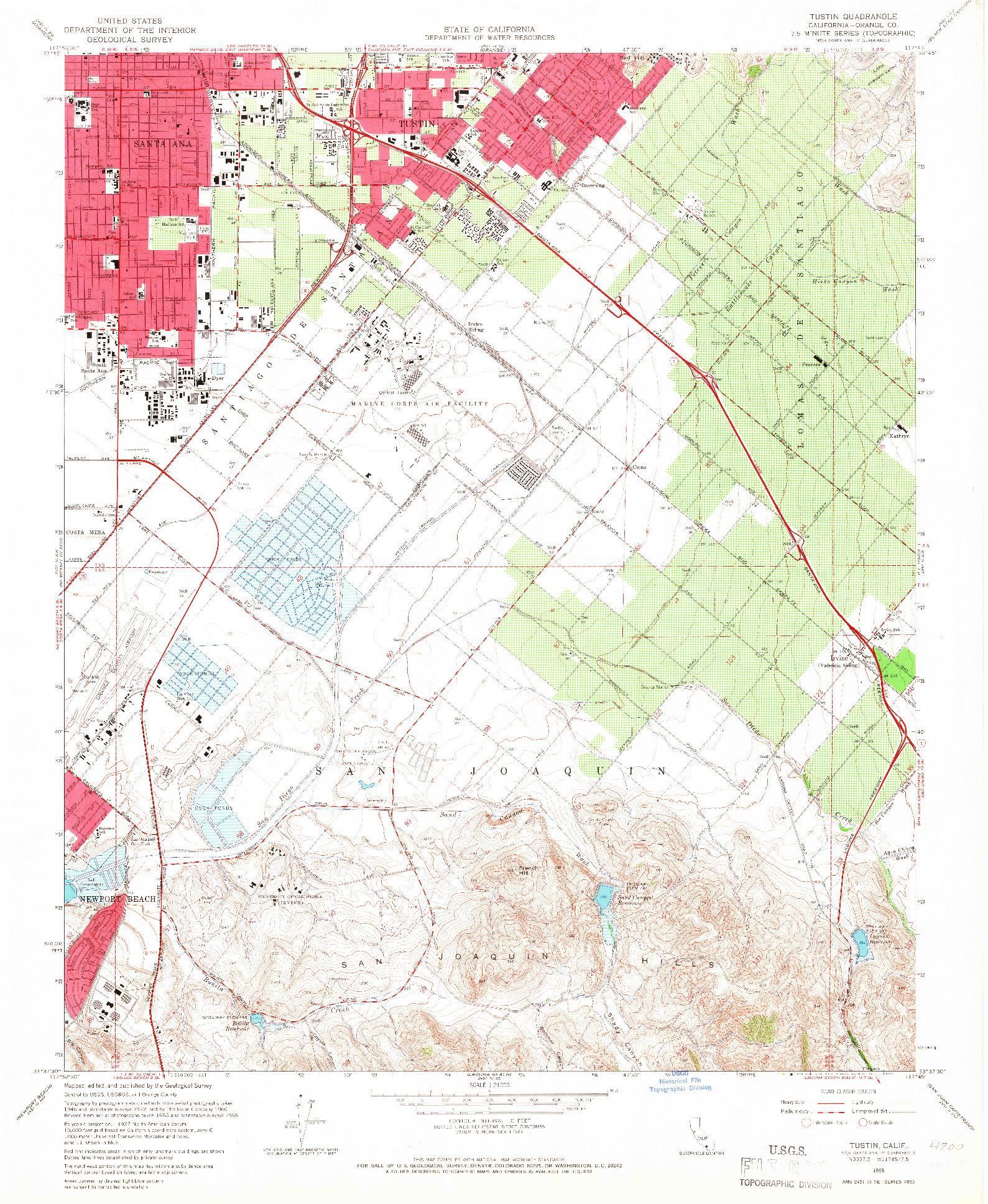 USGS 1:24000-SCALE QUADRANGLE FOR TUSTIN, CA 1965