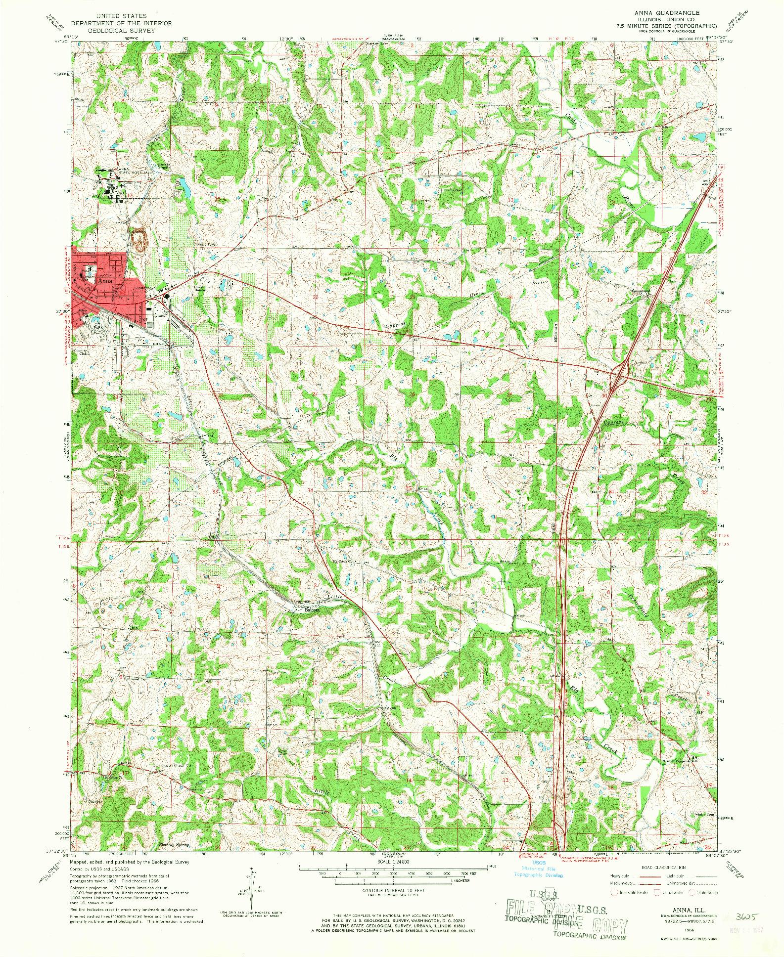 USGS 1:24000-SCALE QUADRANGLE FOR ANNA, IL 1966