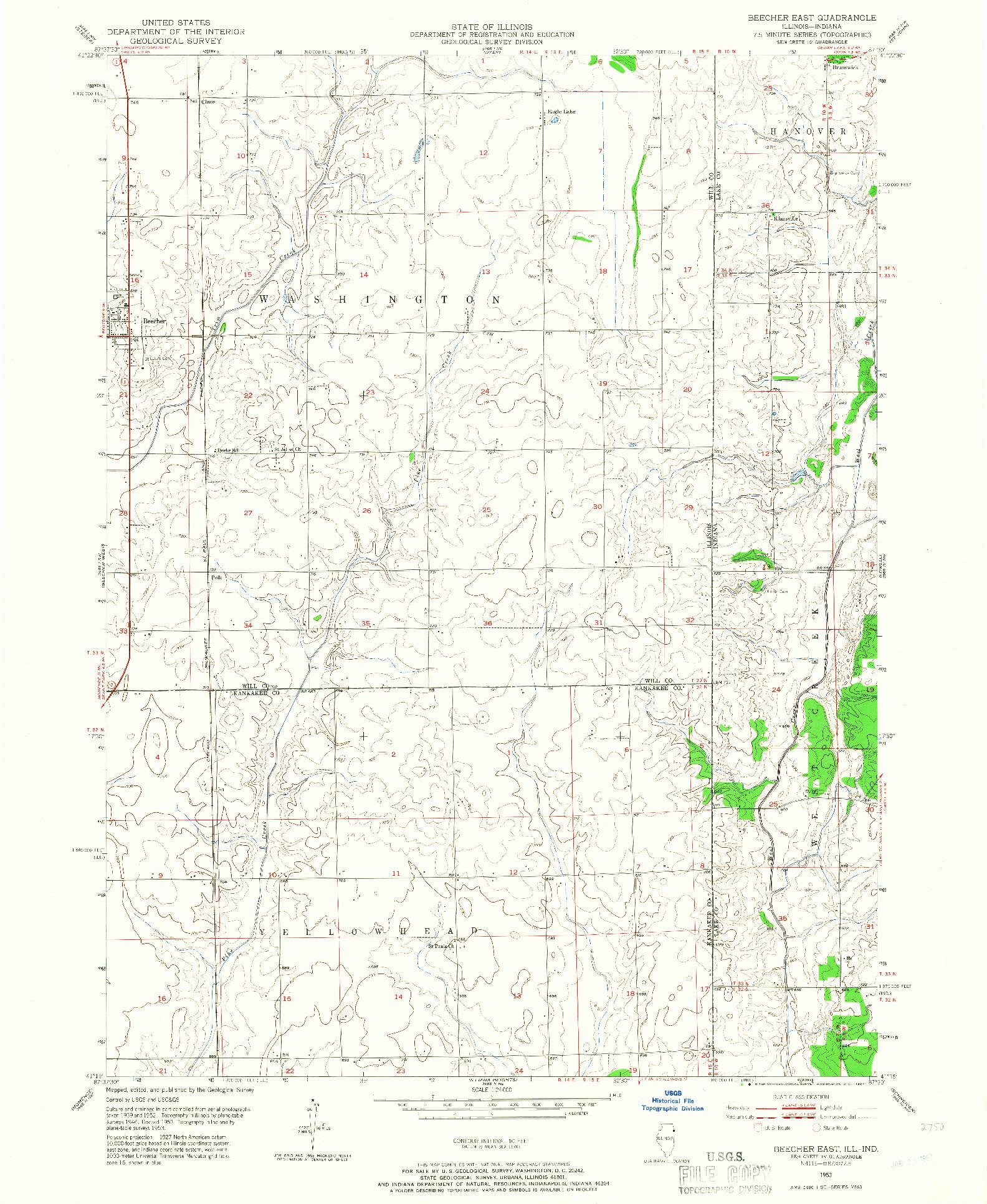 USGS 1:24000-SCALE QUADRANGLE FOR BEECHER EAST, IL 1953
