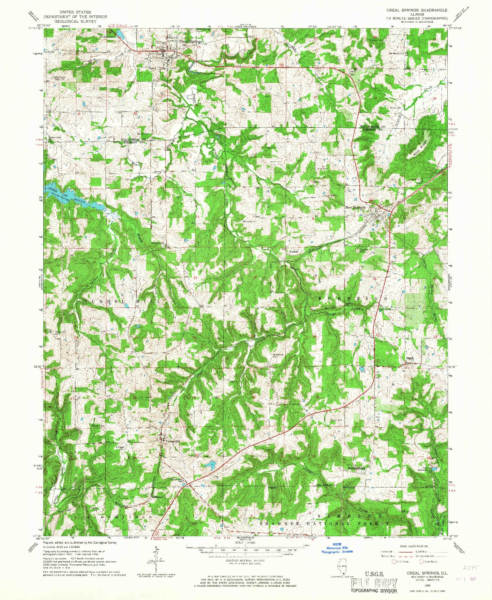 USGS 1:24000-SCALE QUADRANGLE FOR CREAL SPRINGS, IL 1966