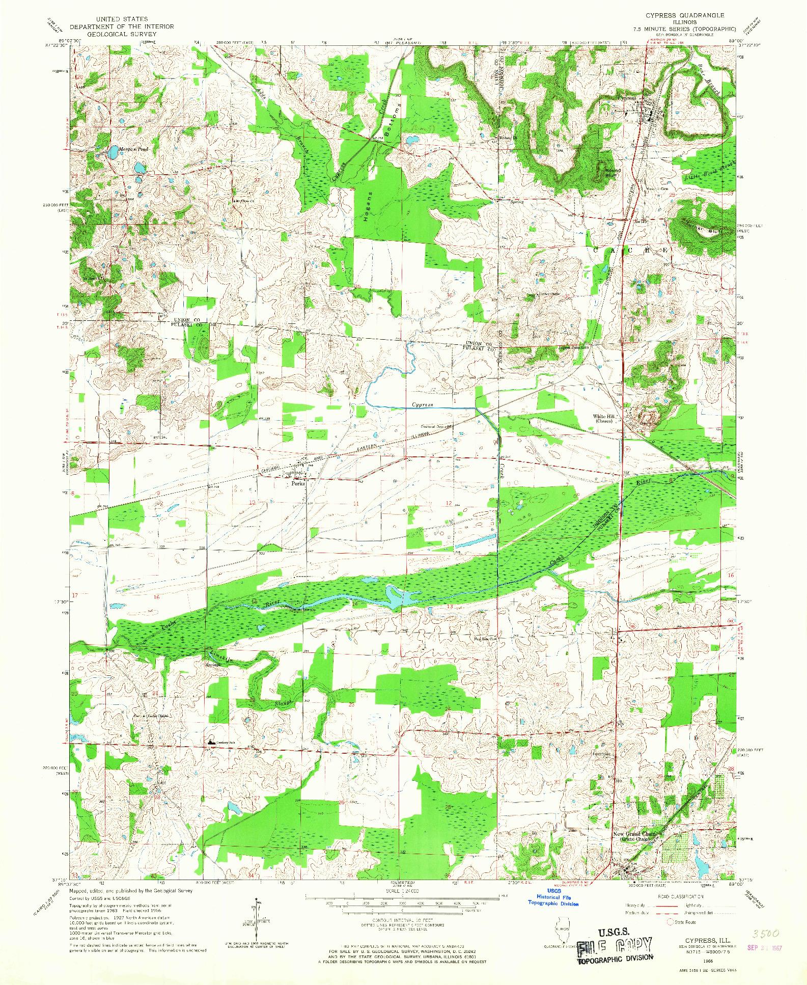 USGS 1:24000-SCALE QUADRANGLE FOR CYPRESS, IL 1966