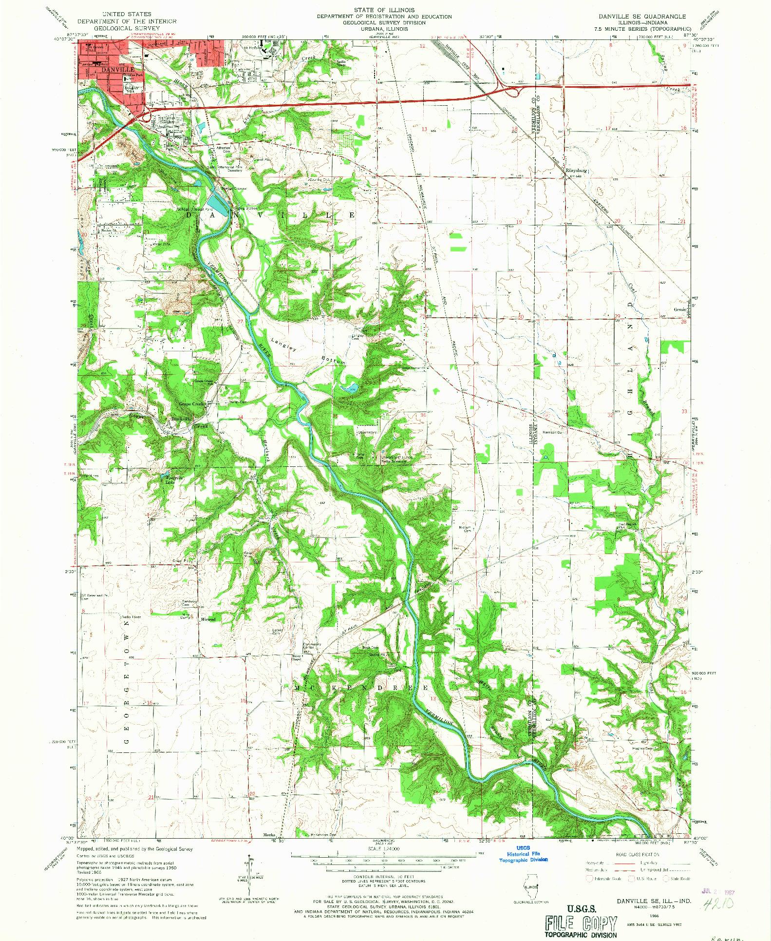 USGS 1:24000-SCALE QUADRANGLE FOR DANVILLE SE, IL 1966