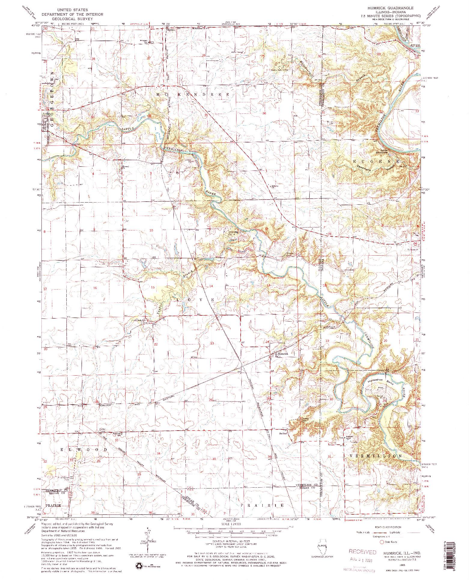 USGS 1:24000-SCALE QUADRANGLE FOR HUMRICK, IL 1965