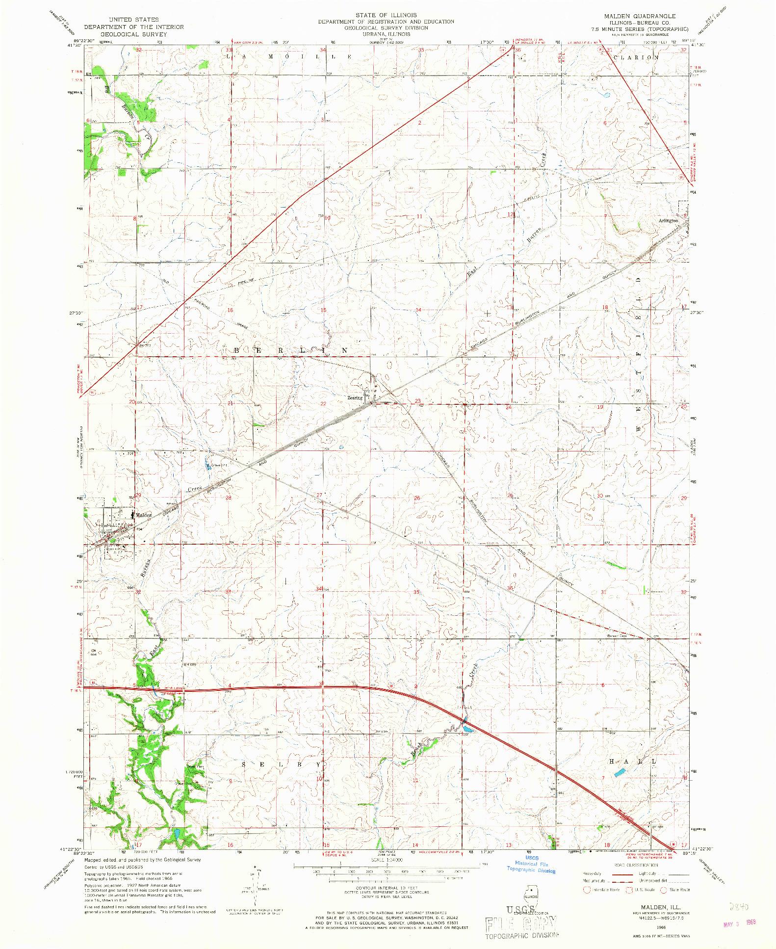 USGS 1:24000-SCALE QUADRANGLE FOR MALDEN, IL 1966