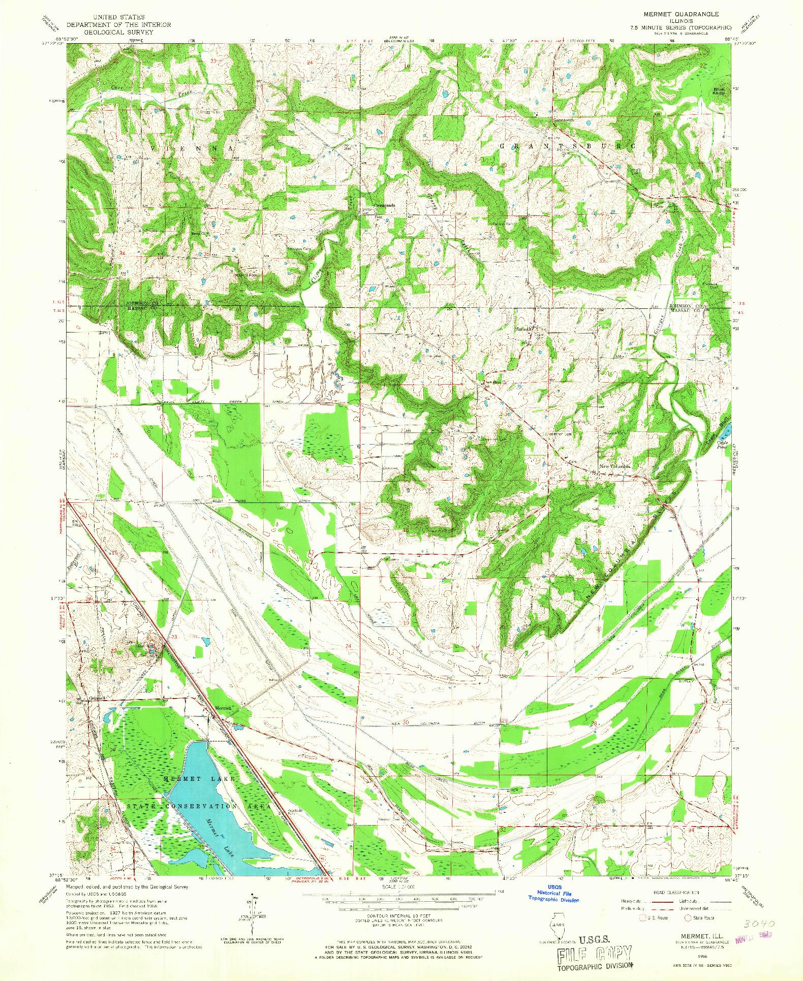 USGS 1:24000-SCALE QUADRANGLE FOR MERMET, IL 1966