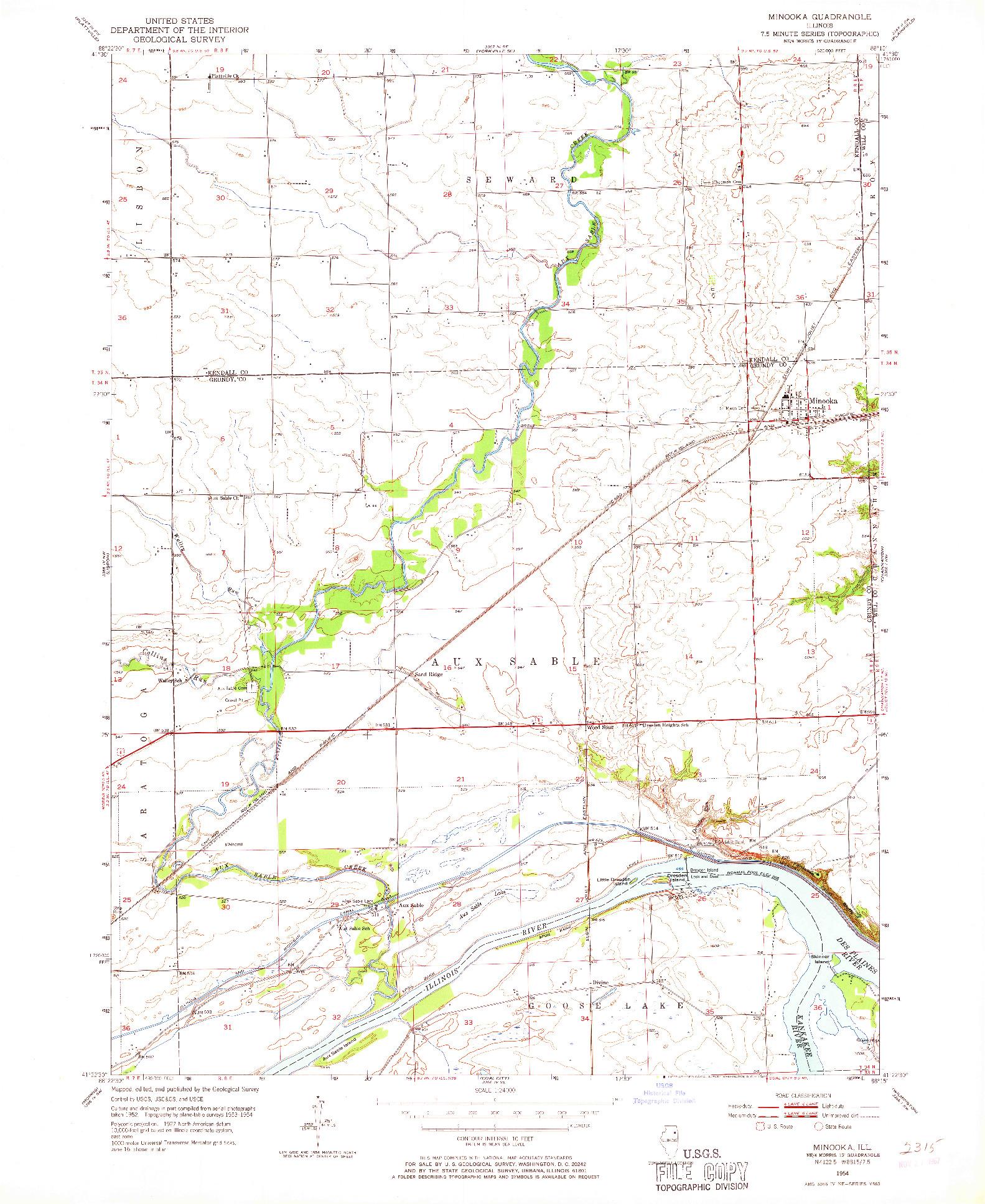 USGS 1:24000-SCALE QUADRANGLE FOR MINOOKA, IL 1954