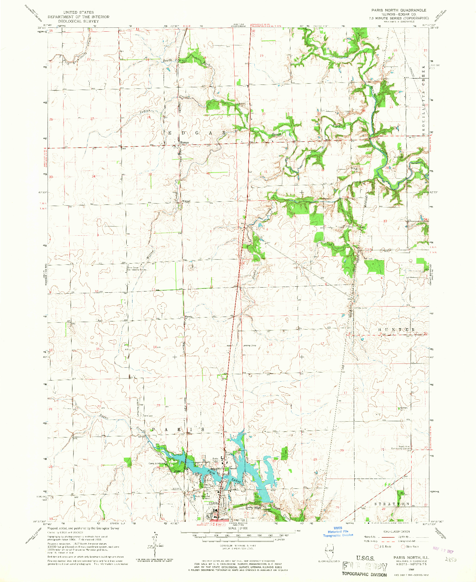 USGS 1:24000-SCALE QUADRANGLE FOR PARIS NORTH, IL 1966