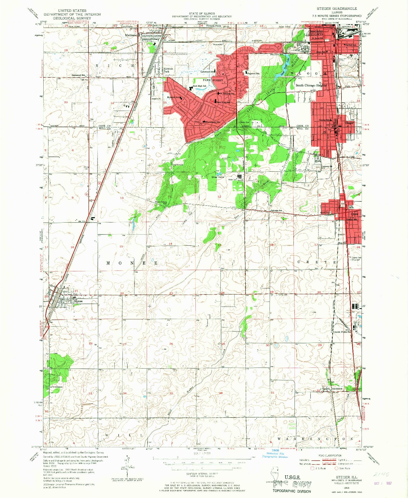 USGS 1:24000-SCALE QUADRANGLE FOR STEGER, IL 1953