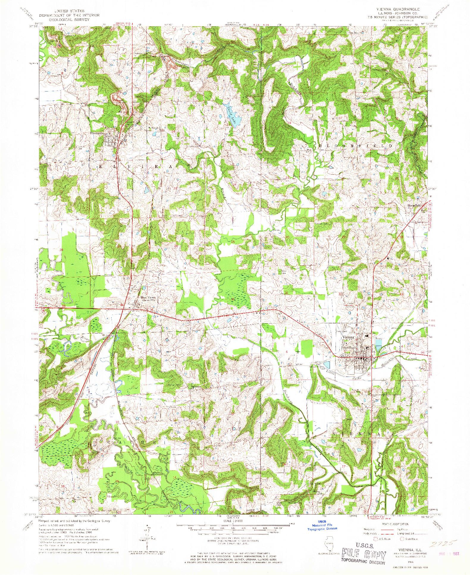 USGS 1:24000-SCALE QUADRANGLE FOR VIENNA, IL 1966