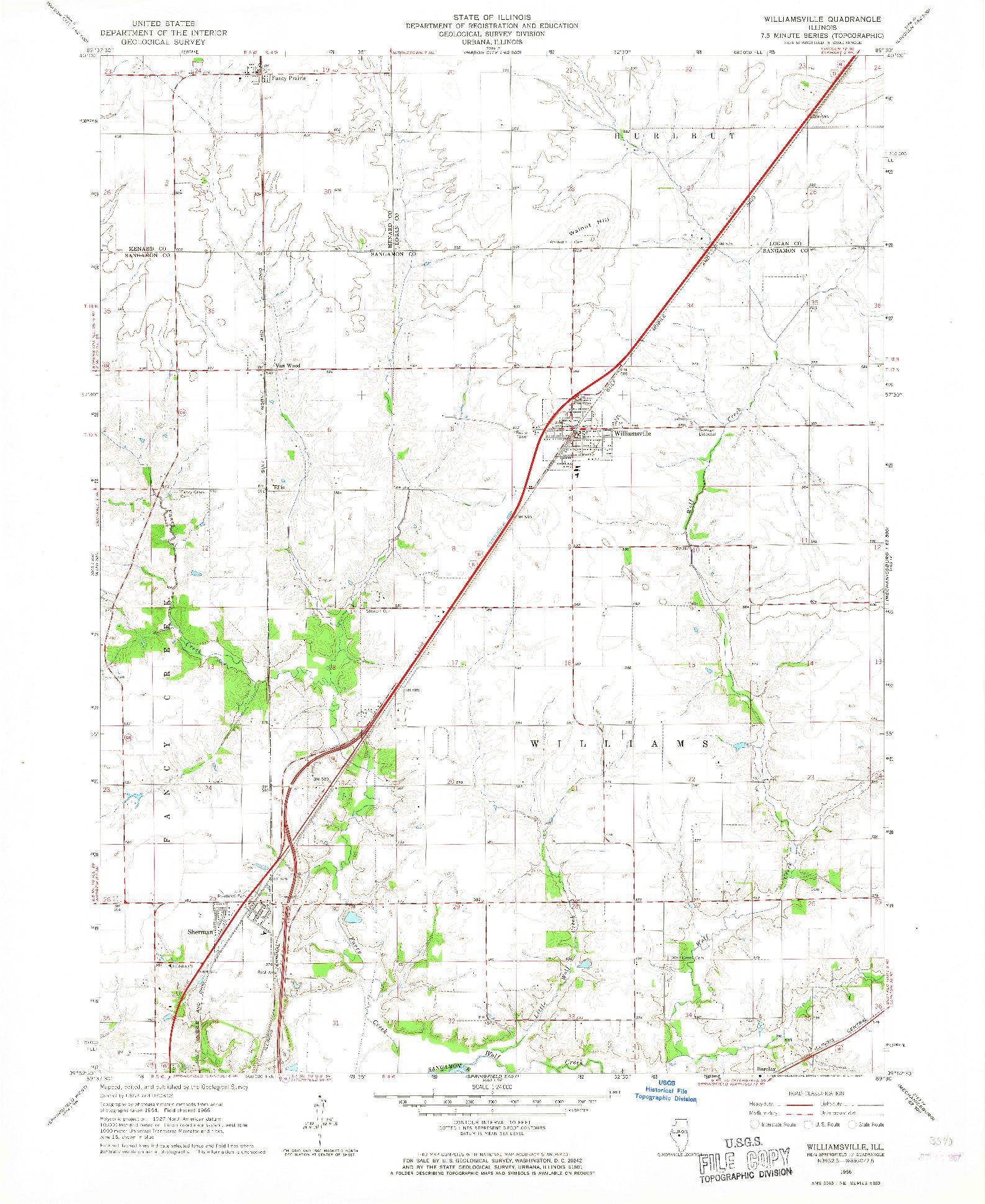 USGS 1:24000-SCALE QUADRANGLE FOR WILLIAMSVILLE, IL 1966