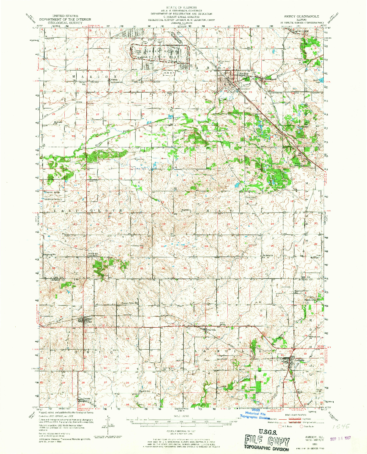 USGS 1:62500-SCALE QUADRANGLE FOR AMBOY, IL 1951