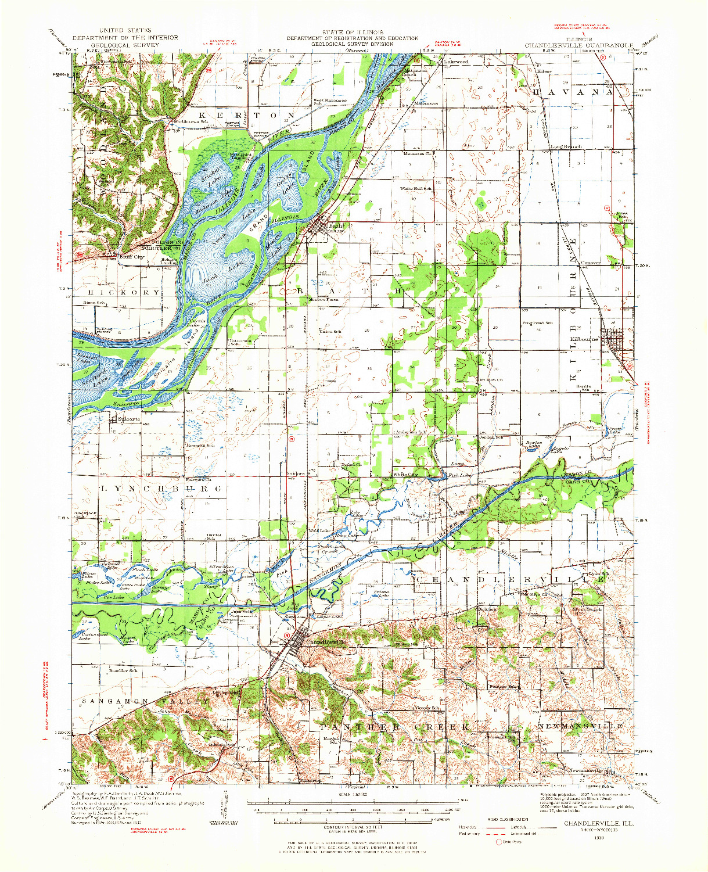 USGS 1:62500-SCALE QUADRANGLE FOR CHANDLERVILLE, IL 1930