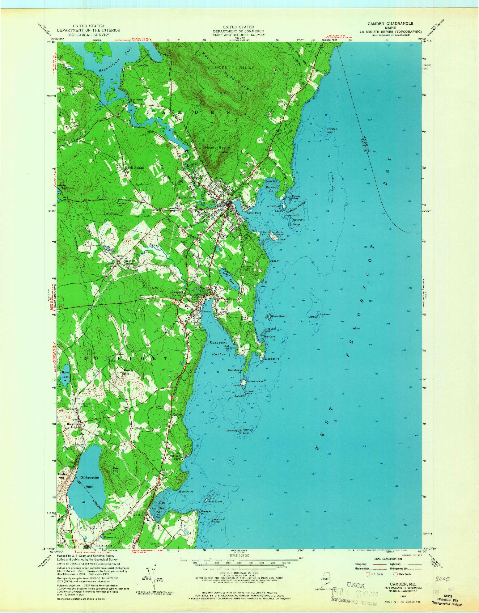 USGS 1:24000-SCALE QUADRANGLE FOR CAMDEN, ME 1955