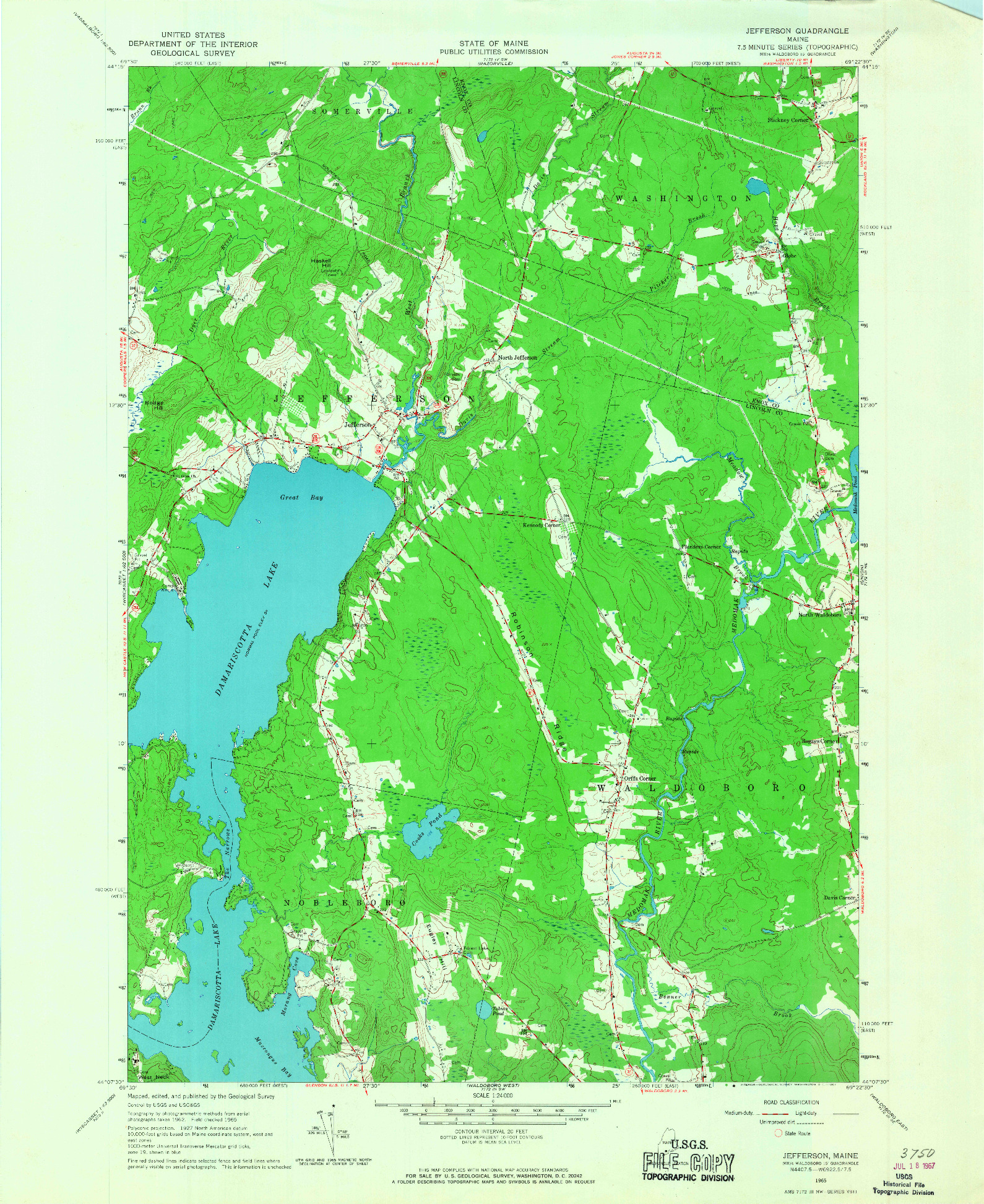 USGS 1:24000-SCALE QUADRANGLE FOR JEFFERSON, ME 1965