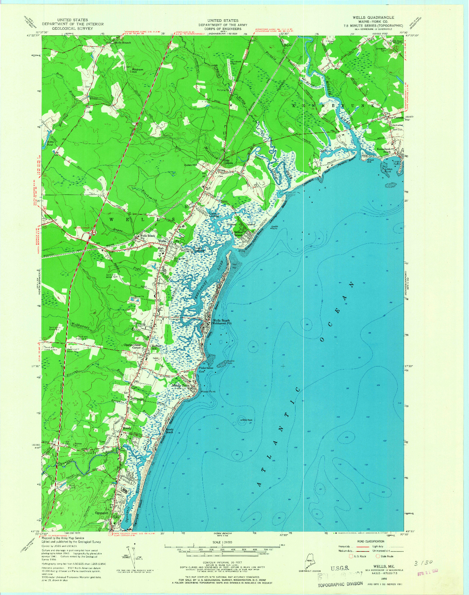 USGS 1:24000-SCALE QUADRANGLE FOR WELLS, ME 1956