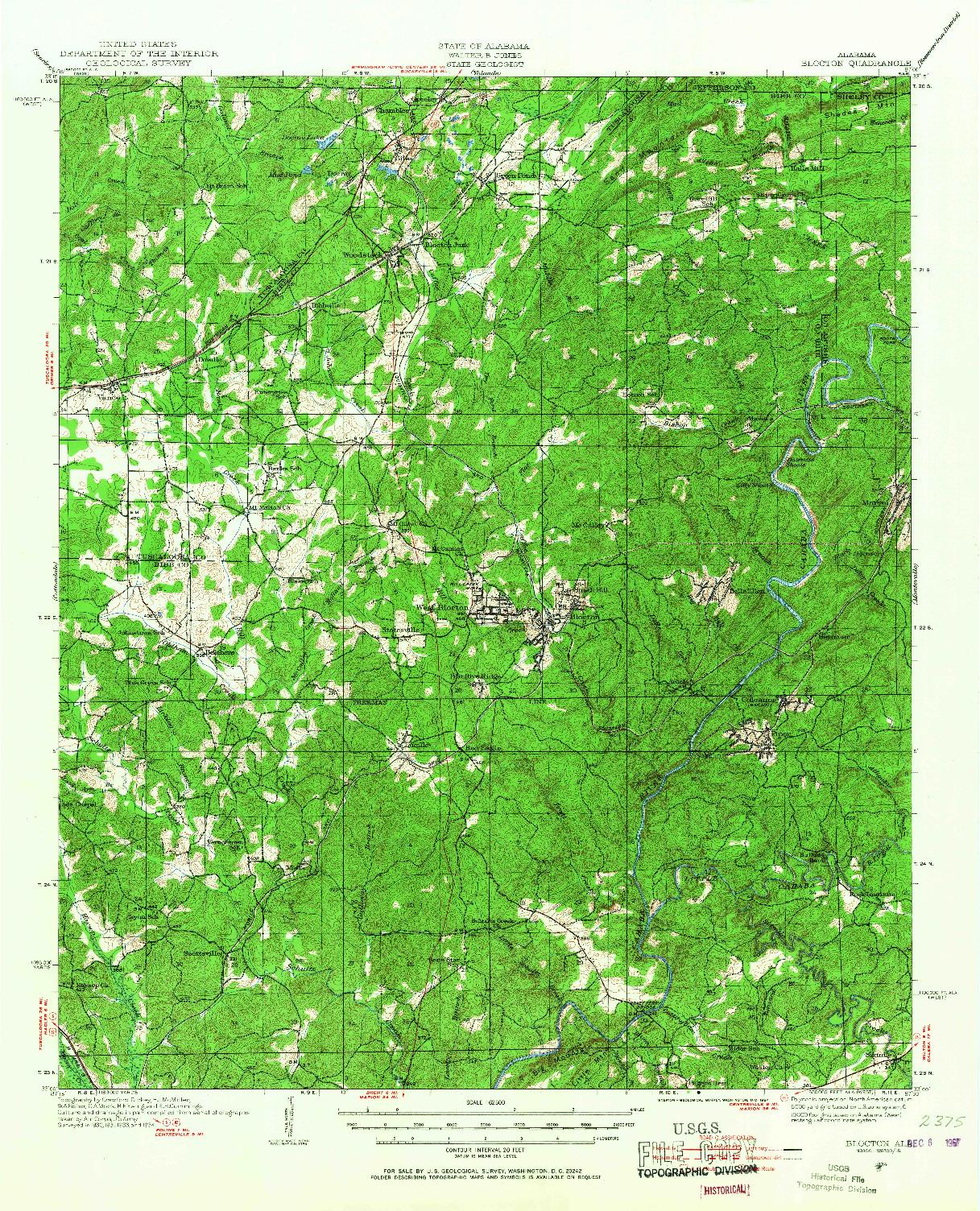 USGS 1:62500-SCALE QUADRANGLE FOR BLOCTON, AL 1934