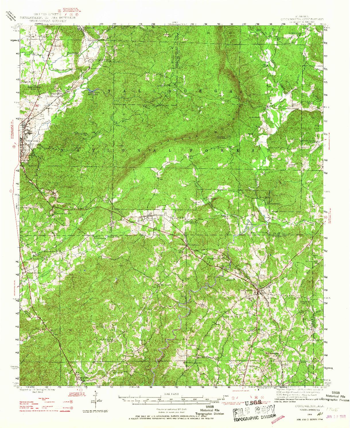 USGS 1:62500-SCALE QUADRANGLE FOR GOODWATER, AL 1944