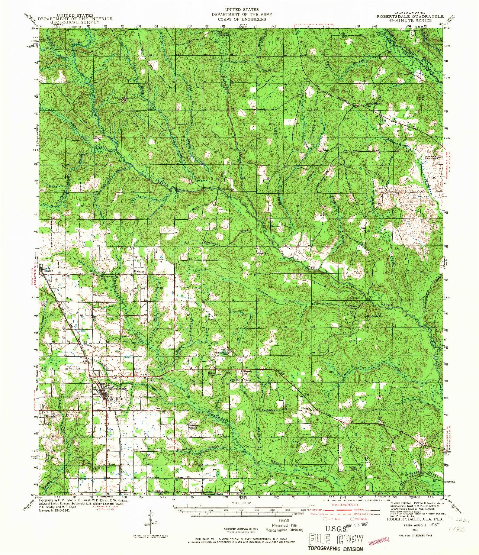 USGS 1:62500-SCALE QUADRANGLE FOR ROBERTSDALE, AL 1941