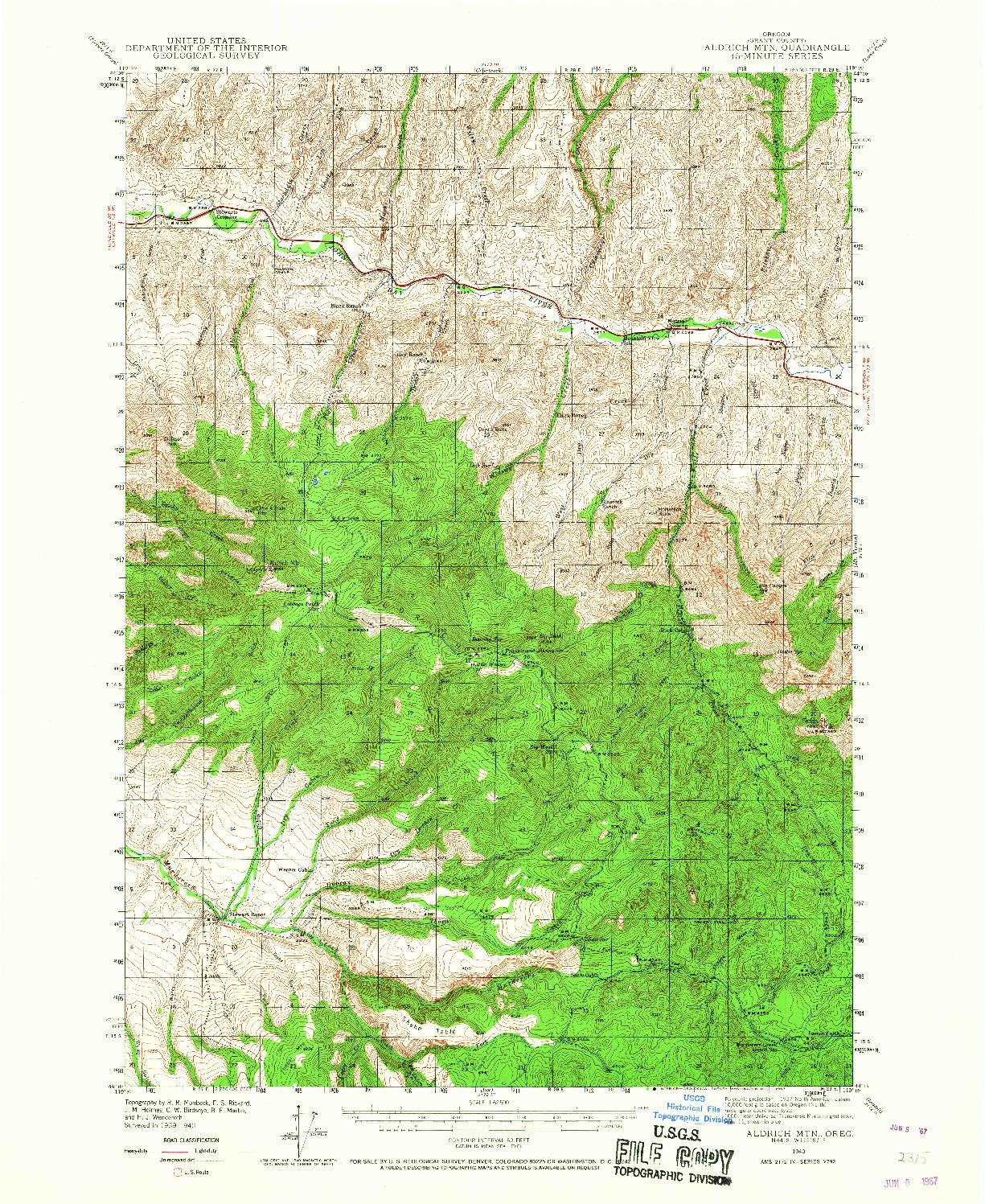 USGS 1:62500-SCALE QUADRANGLE FOR ALDRICH MTN., OR 1940