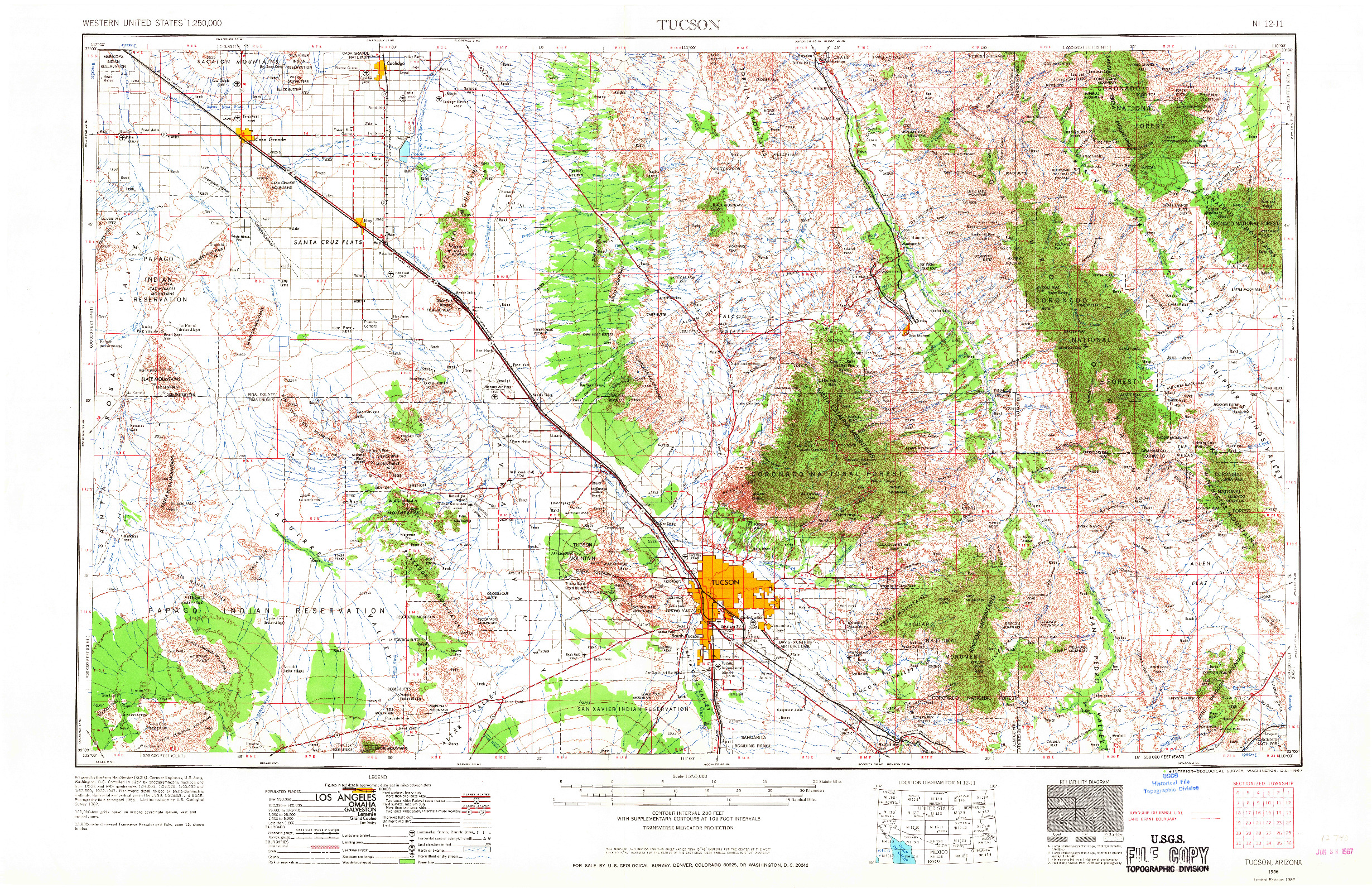 USGS 1:250000-SCALE QUADRANGLE FOR TUCSON, AZ 1956