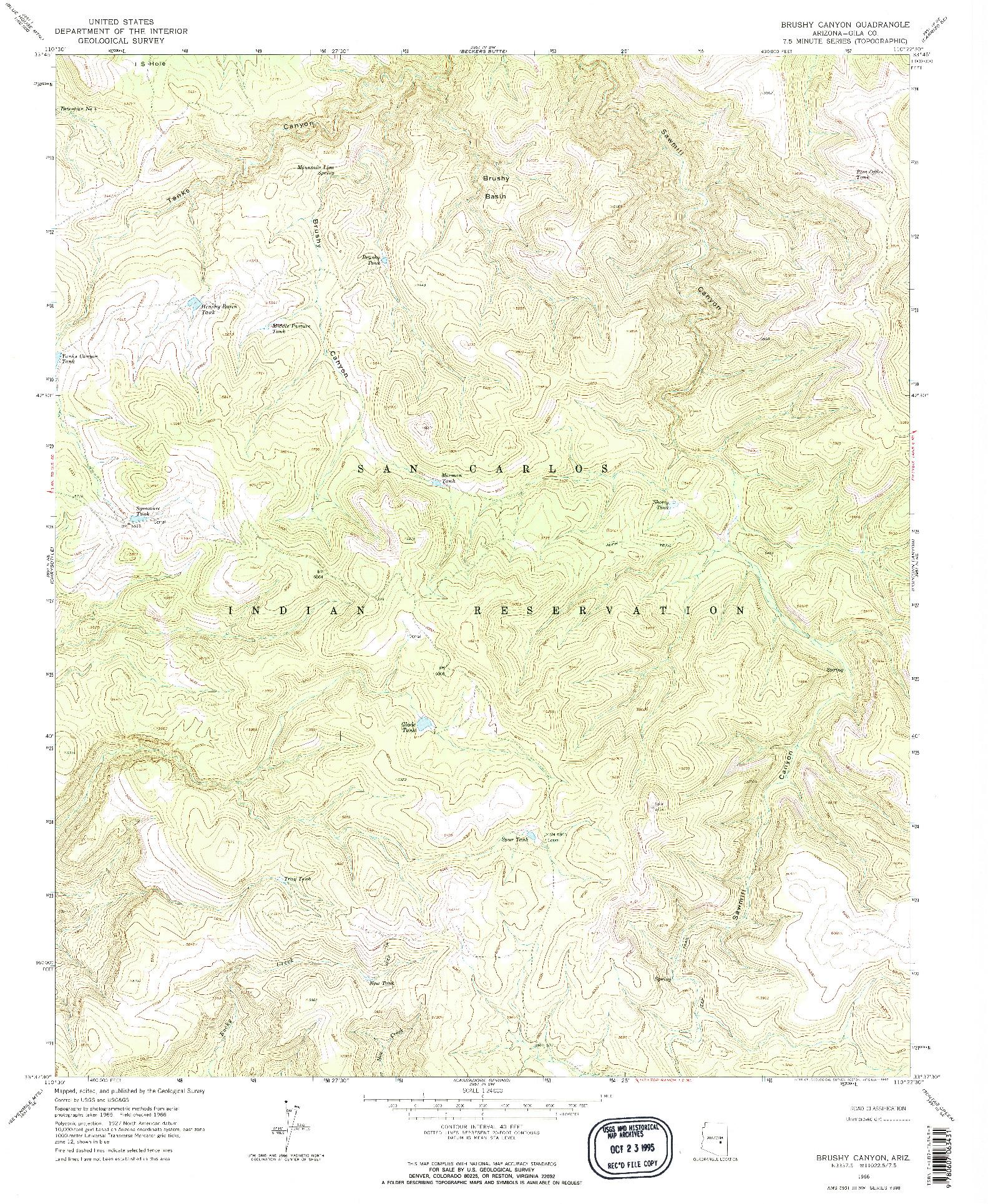 USGS 1:24000-SCALE QUADRANGLE FOR BRUSHY CANYON, AZ 1966