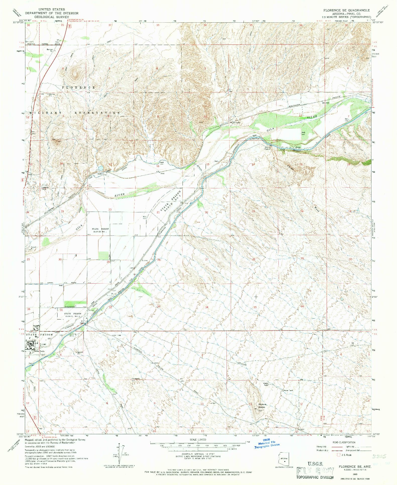 USGS 1:24000-SCALE QUADRANGLE FOR FLORENCE SE, AZ 1965