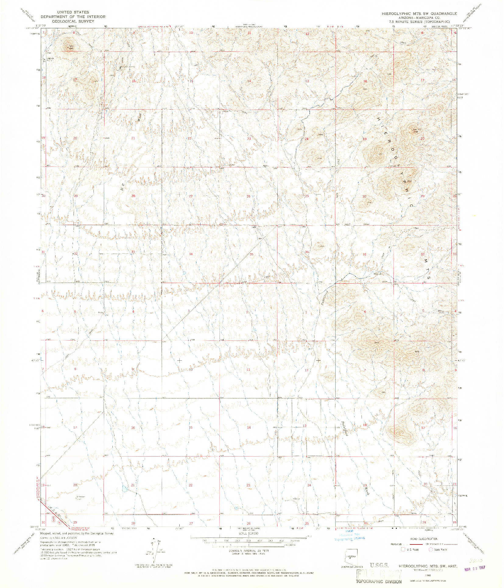 USGS 1:24000-SCALE QUADRANGLE FOR HIEROGLYPHIC MTS. SW, AZ 1965