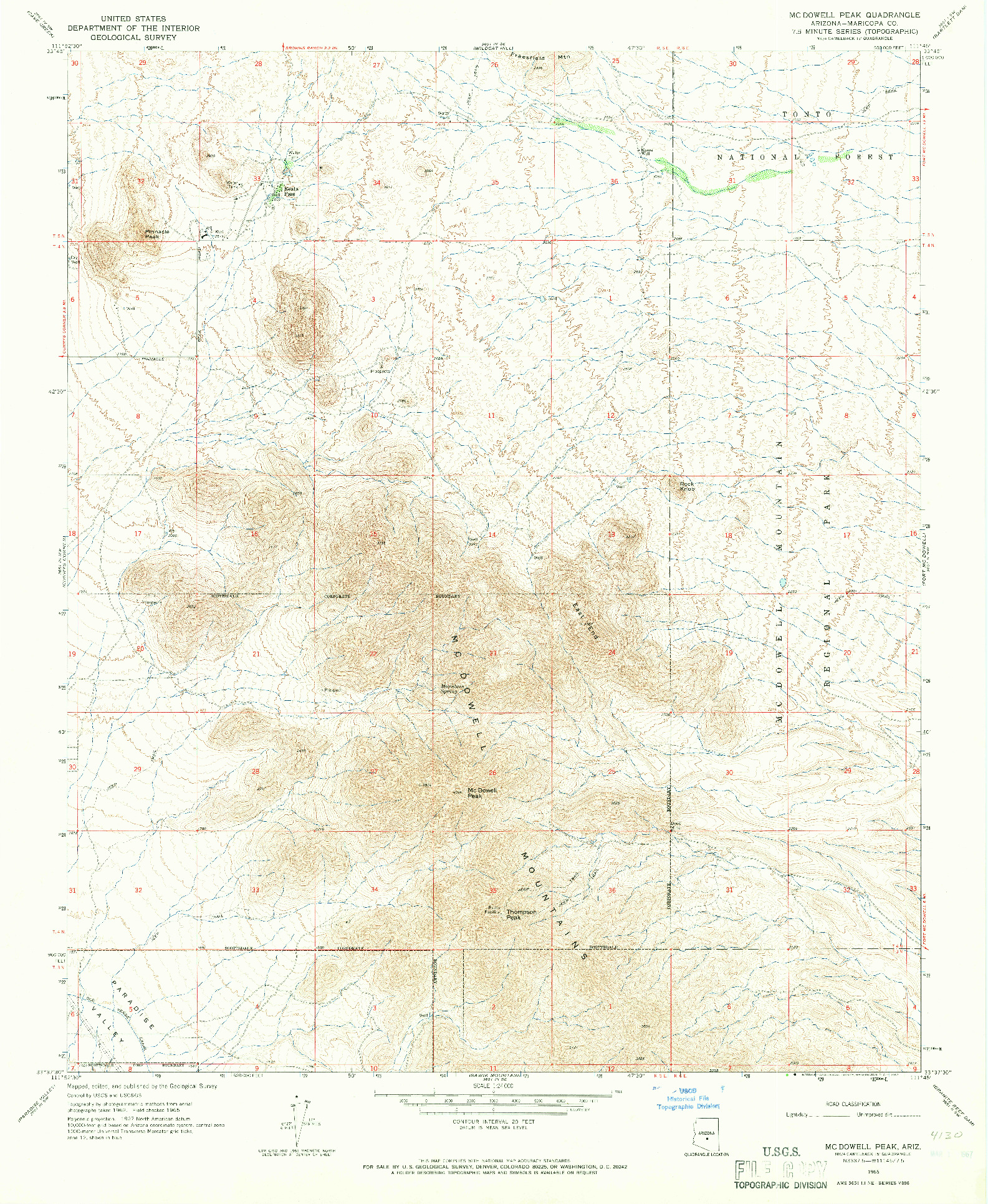 USGS 1:24000-SCALE QUADRANGLE FOR MCDOWELL PEAK, AZ 1965