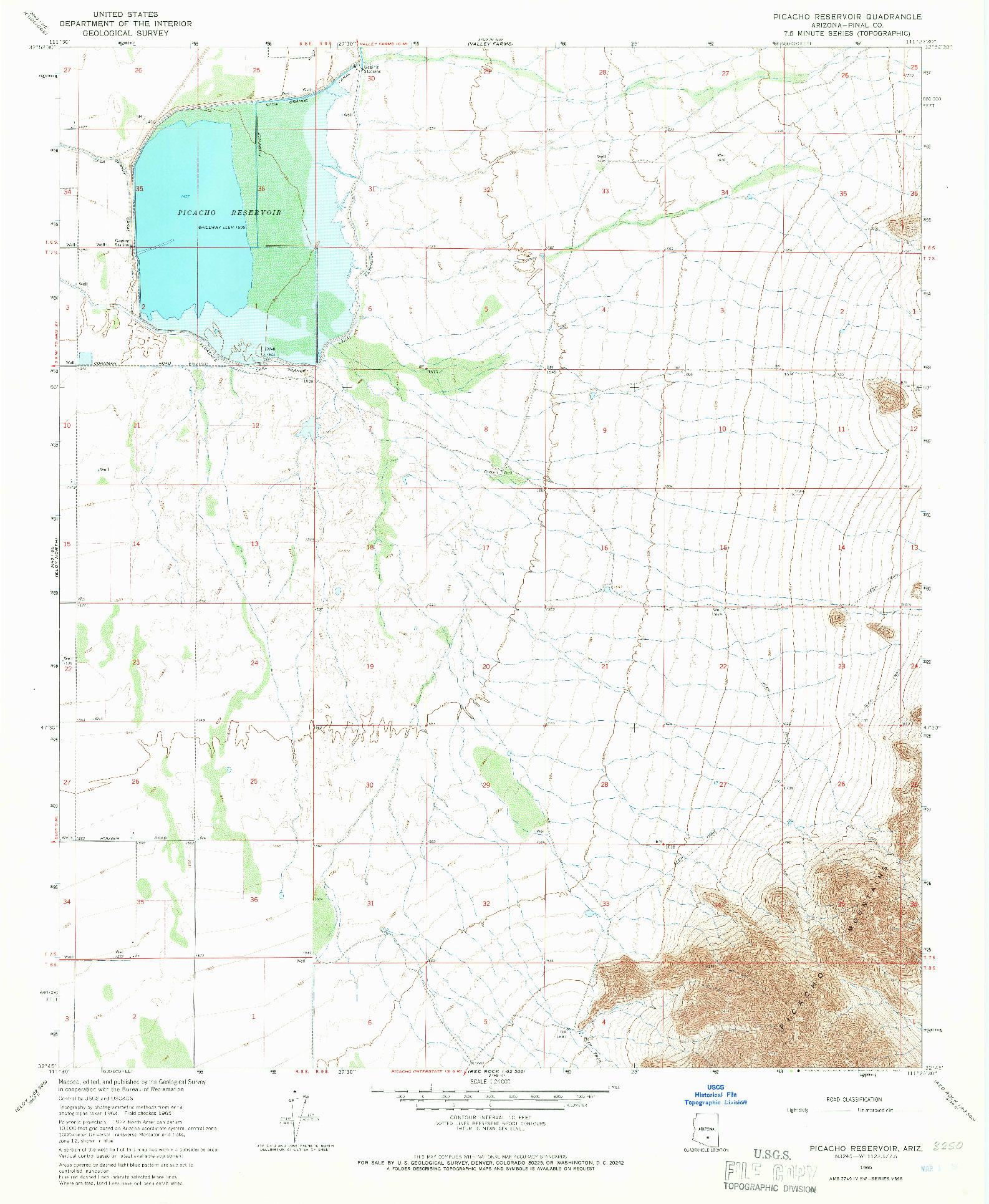 USGS 1:24000-SCALE QUADRANGLE FOR PICACHO RESERVOIR, AZ 1965