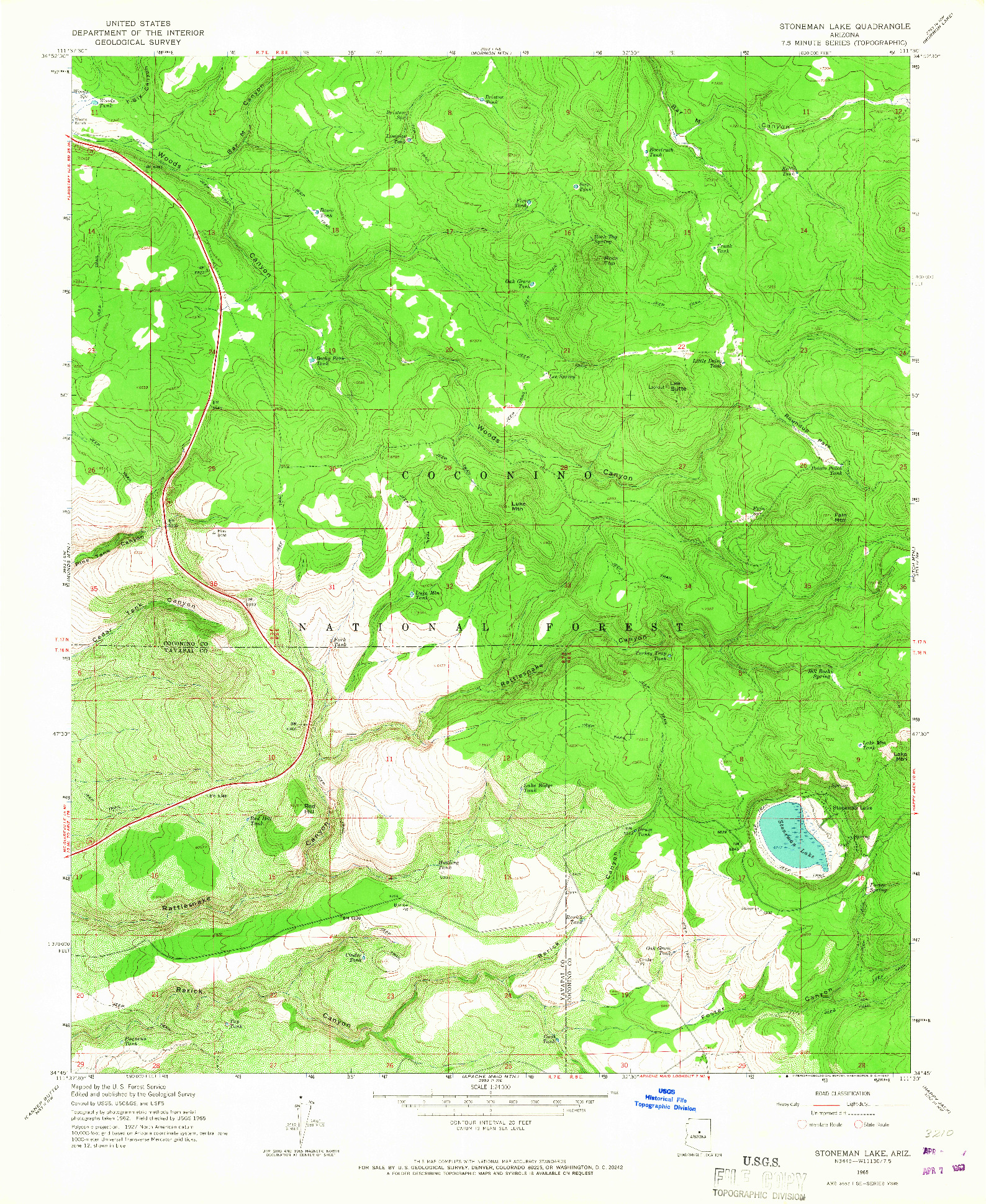 USGS 1:24000-SCALE QUADRANGLE FOR STONEMAN LAKE, AZ 1965
