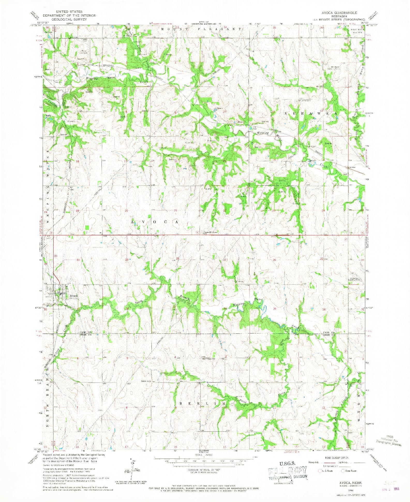 USGS 1:24000-SCALE QUADRANGLE FOR AVOCA, NE 1966