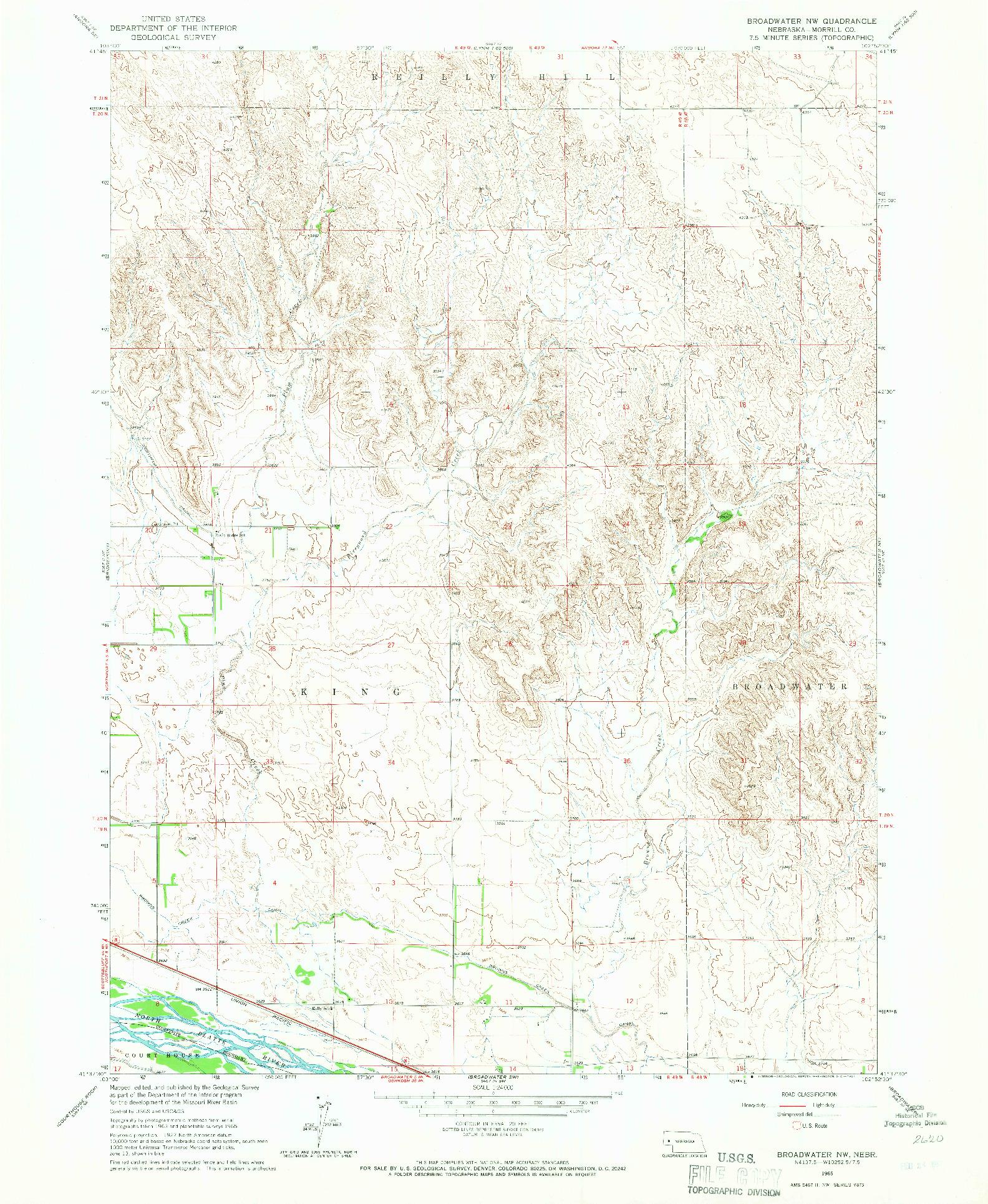 USGS 1:24000-SCALE QUADRANGLE FOR BROADWATER NW, NE 1965